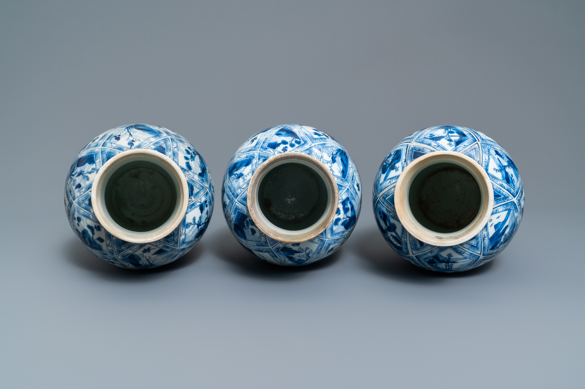 A large Chinese blue and white five-piece garniture with floral and landscape panels, Kangxi - Image 6 of 66