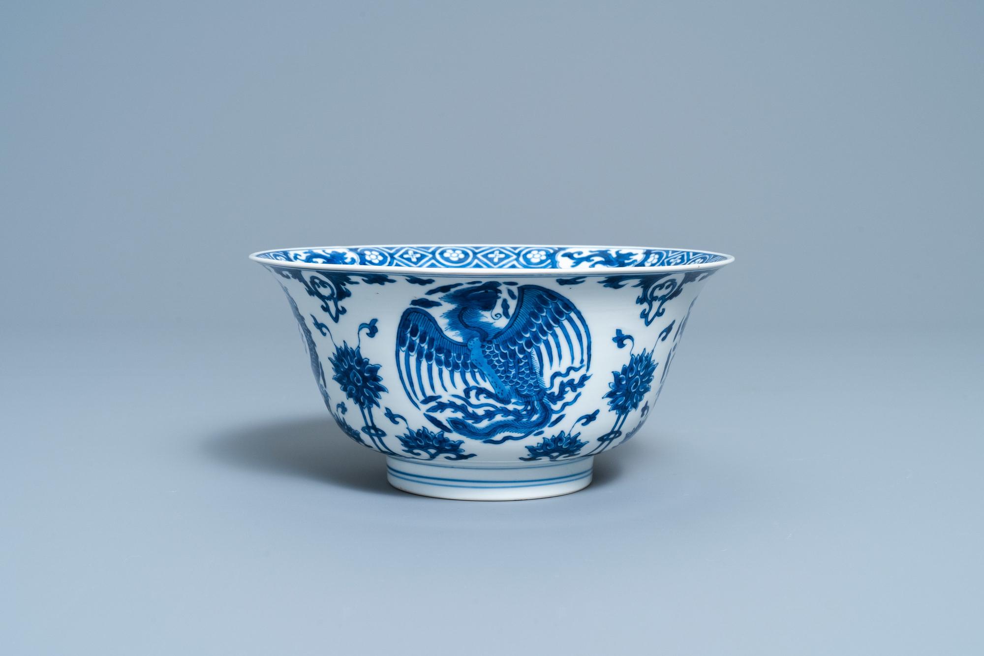 A Chinese blue and white 'dragon and phoenix bowl', Chenghua mark, Kangxi