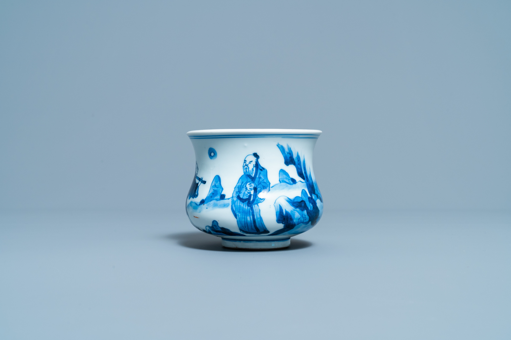 A Chinese blue and white censer with figures in a landscape, Kangxi - Image 2 of 7