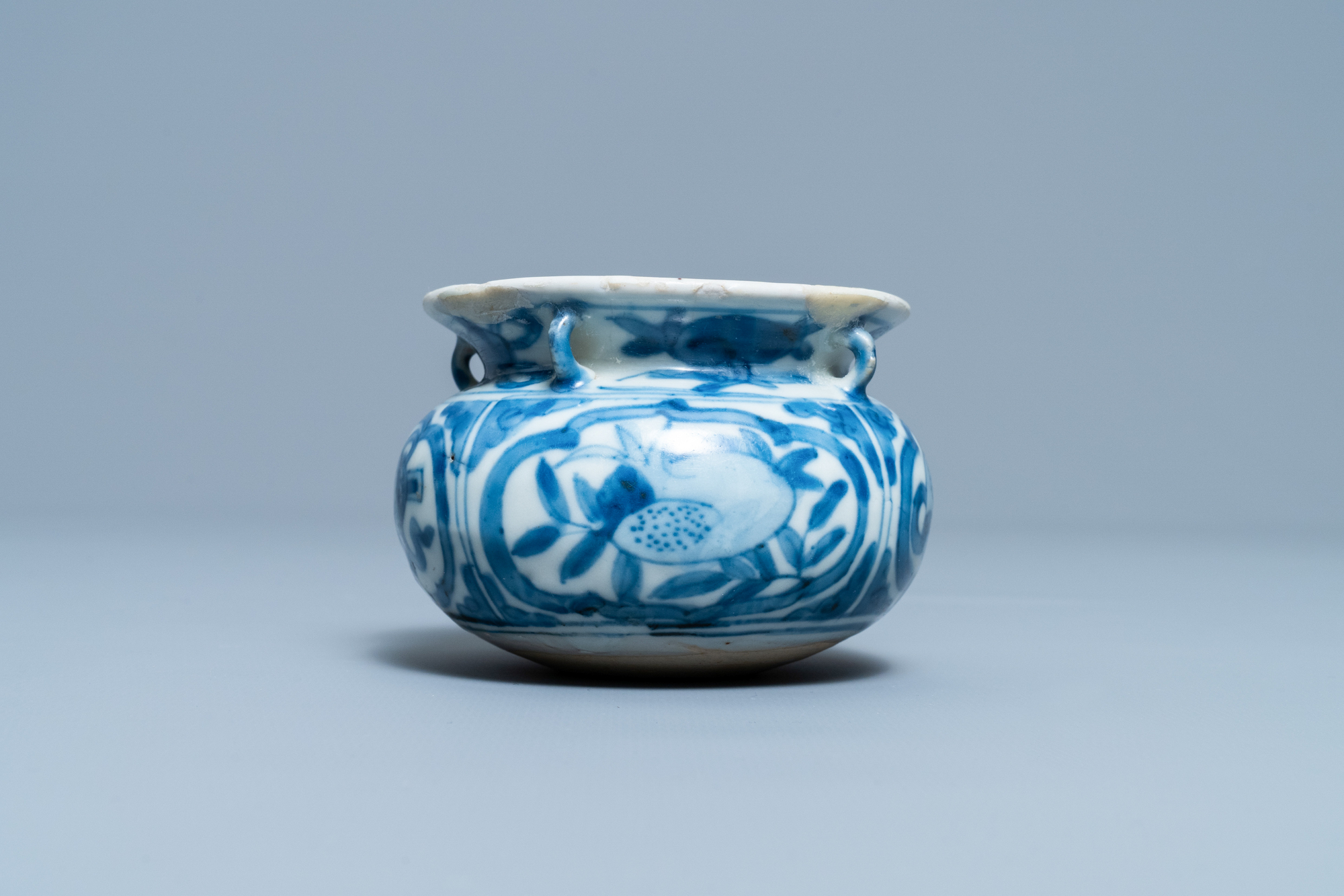A small Chinese blue and white 'Taoist symbols' censer, Ming - Image 3 of 7
