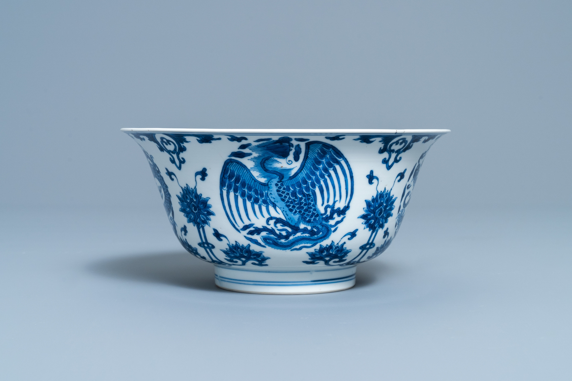 A Chinese blue and white 'dragon and phoenix bowl', Chenghua mark, Kangxi - Image 4 of 17