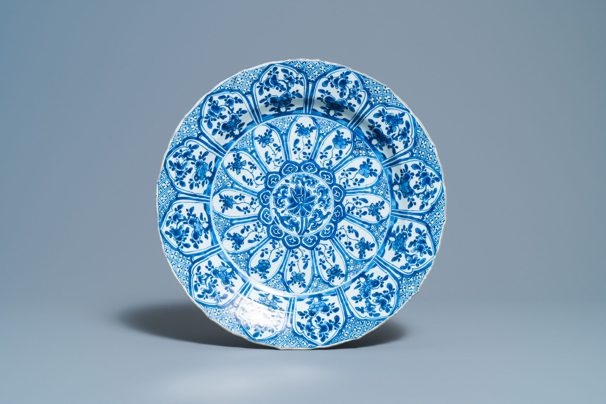 A Chinese blue and white 'lotus' dish and a famille verte dish, Kangxi - Image 2 of 5