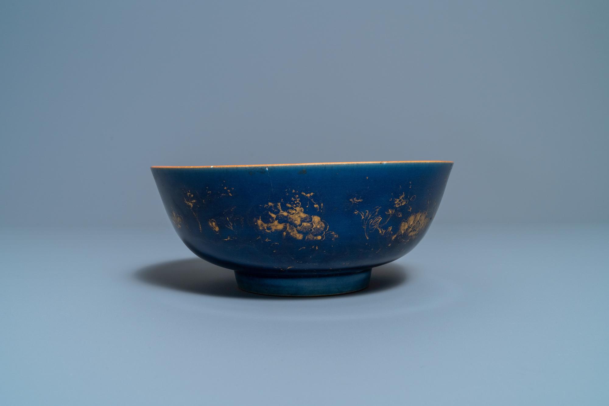 Three Chinese gilt-decorated monochrome blue bowls, Kangxi - Image 11 of 13