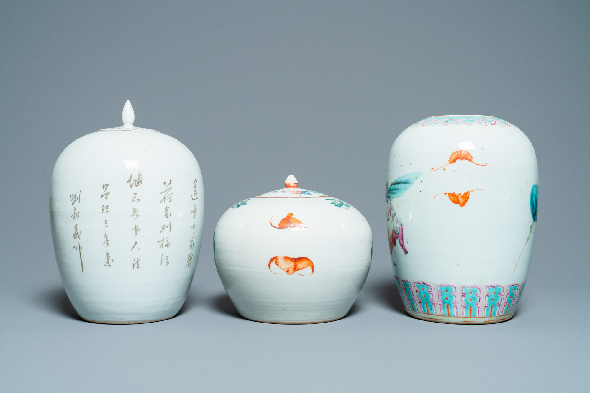 Six Chinese famille rose and verte vases, 19/20th C. - Image 4 of 13