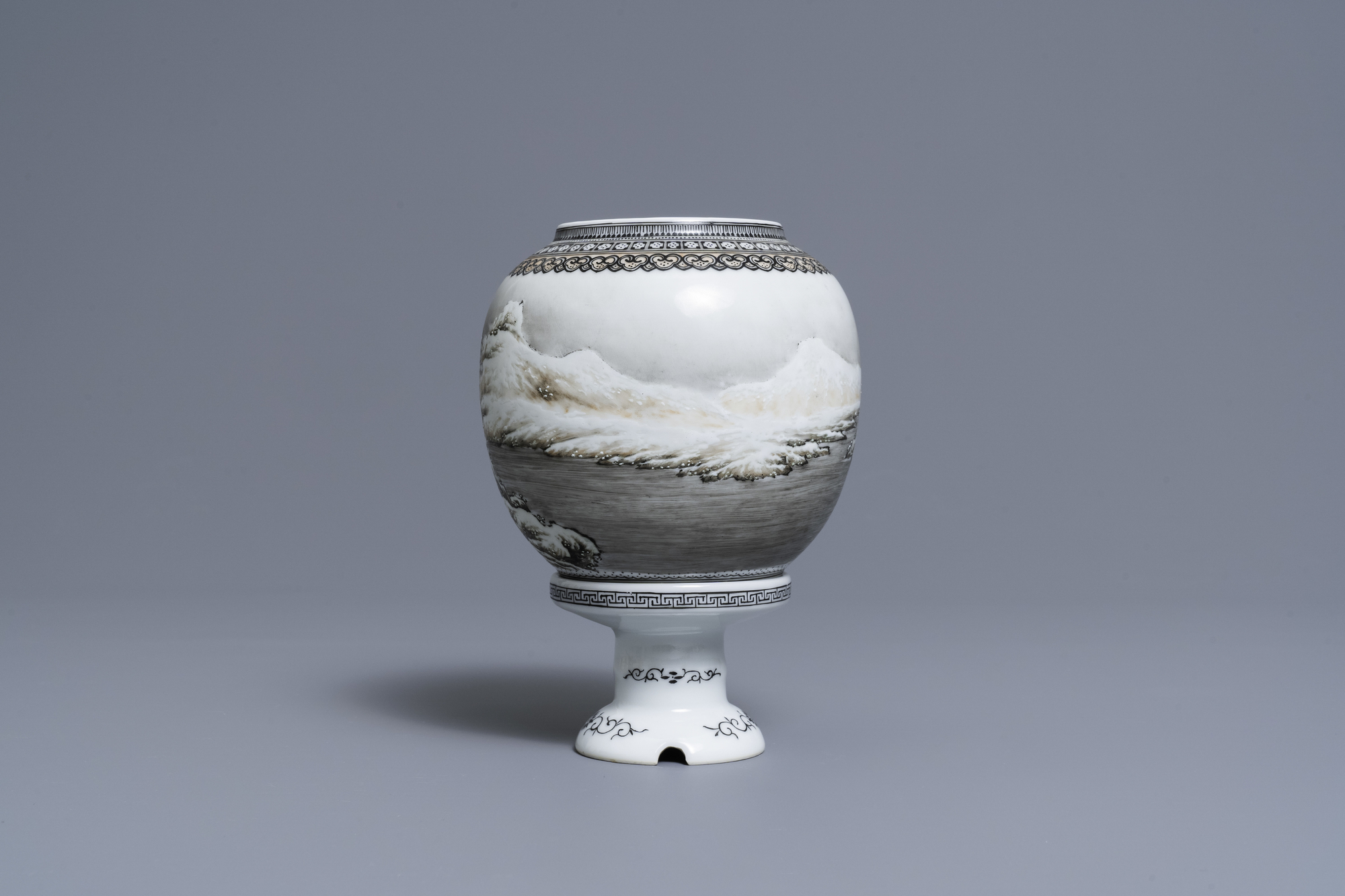 A Chinese eggshell porcelain lantern with a winter landscape, Republic - Image 3 of 8