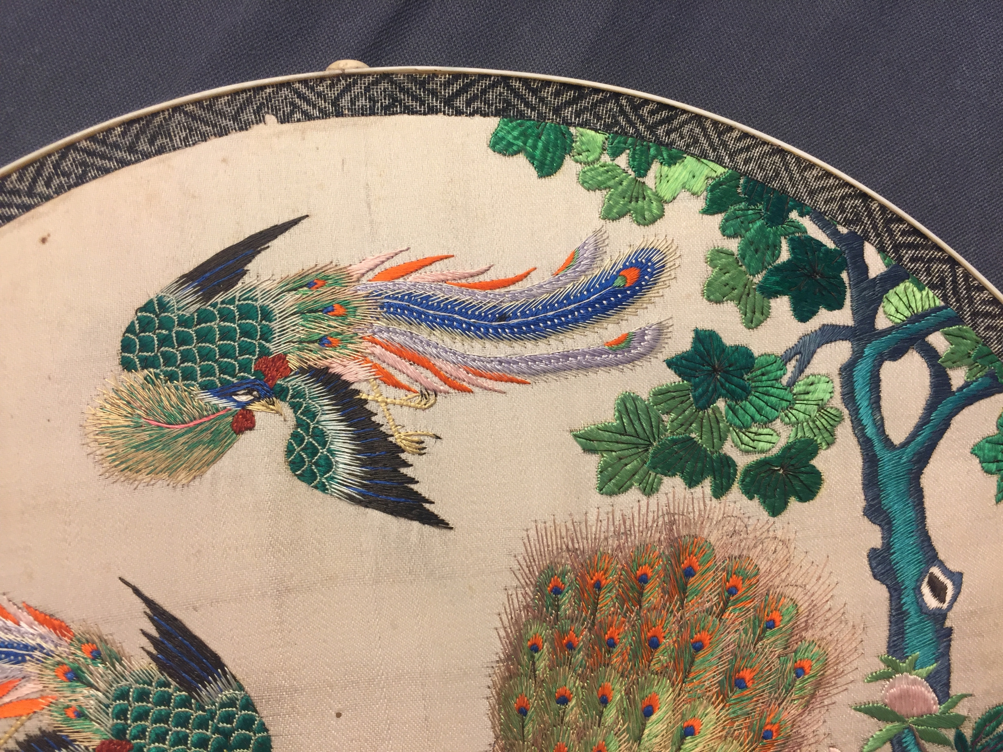 Two Chinese embroidered silk pien mien fans with ivory handle, 18/19th C. - Image 12 of 61