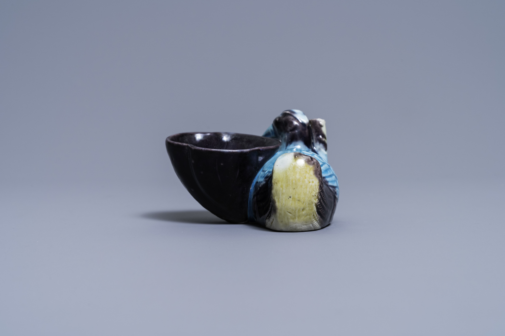 A Chinese aubergine- and turquoise-glazed duck and lotus-shaped water dropper, Kangxi - Image 4 of 7