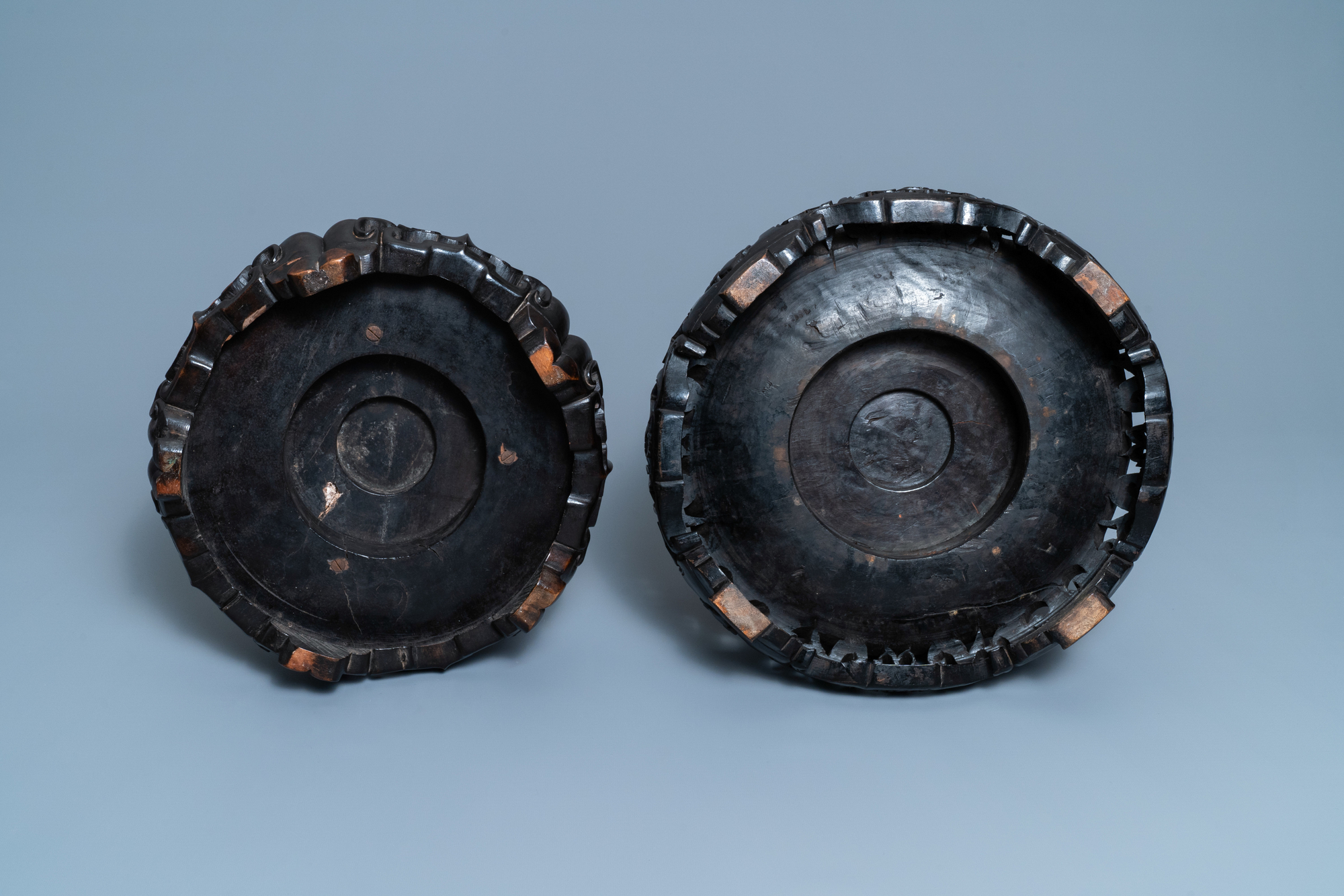 Two large Chinese reticulated wooden stands, 18/19th C. - Image 7 of 7