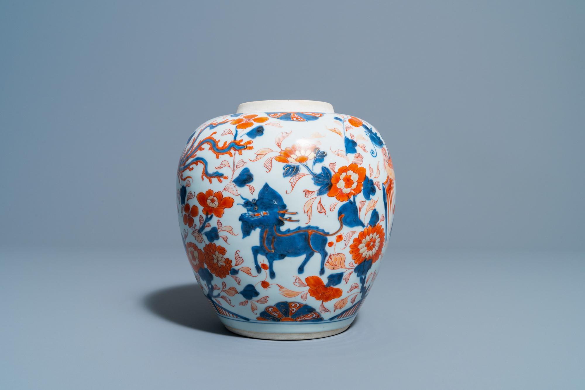 A Chinese Imari-style 'qilins and phoenixes' jar, Kangxi - Image 4 of 6