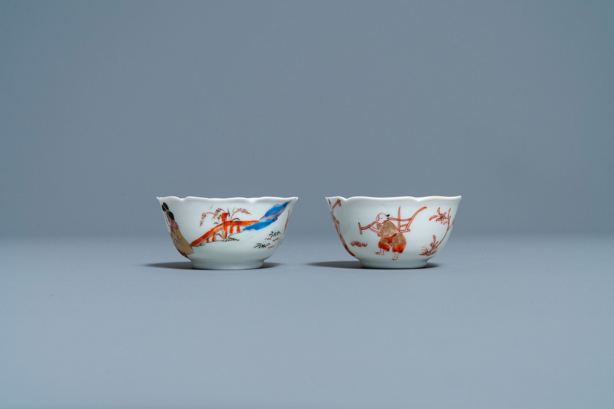 Two Chinese iron-red and gilt cups and saucers, Yongzheng - Image 5 of 9