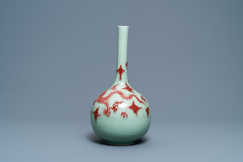 A Chinese copper-red celadon-ground 'dragon' vase, Kangxi - Image 4 of 13