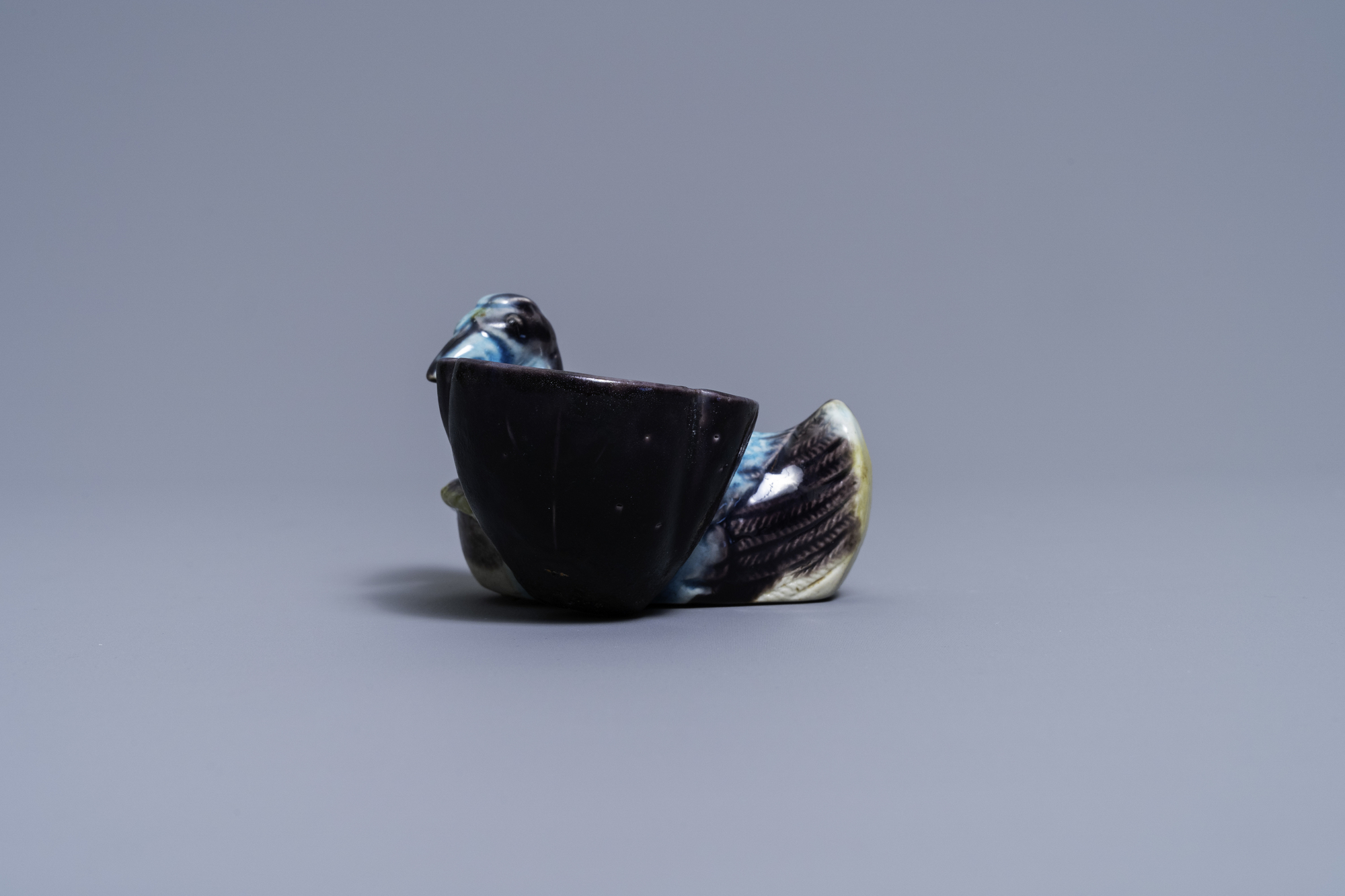 A Chinese aubergine- and turquoise-glazed duck and lotus-shaped water dropper, Kangxi - Image 3 of 7