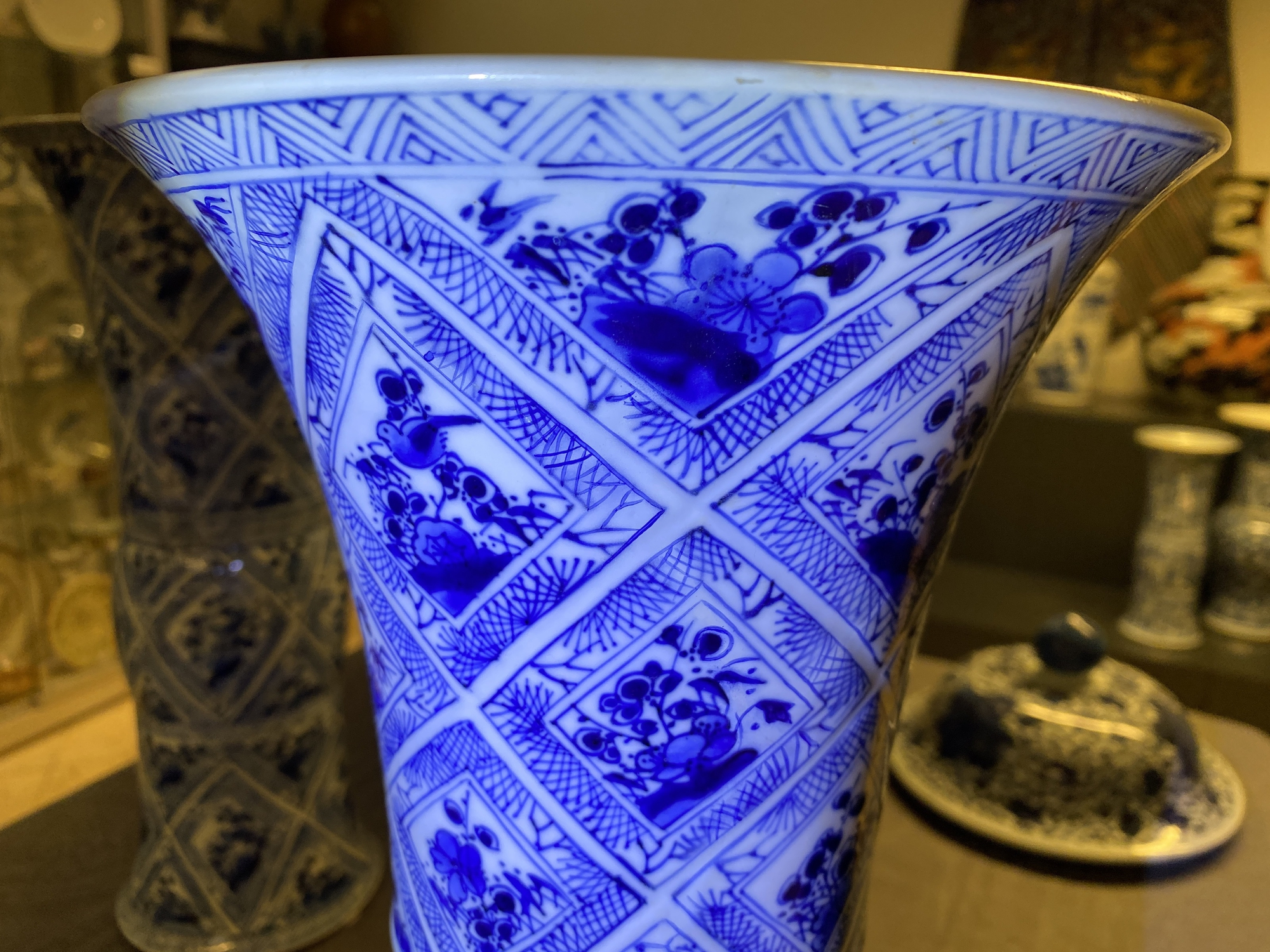 A large Chinese blue and white five-piece garniture with floral and landscape panels, Kangxi - Image 53 of 66