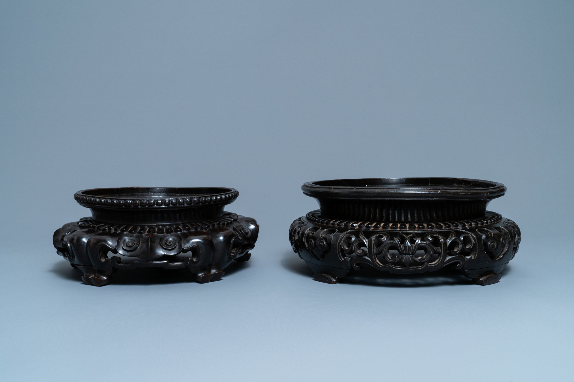 Two large Chinese reticulated wooden stands, 18/19th C. - Image 3 of 7