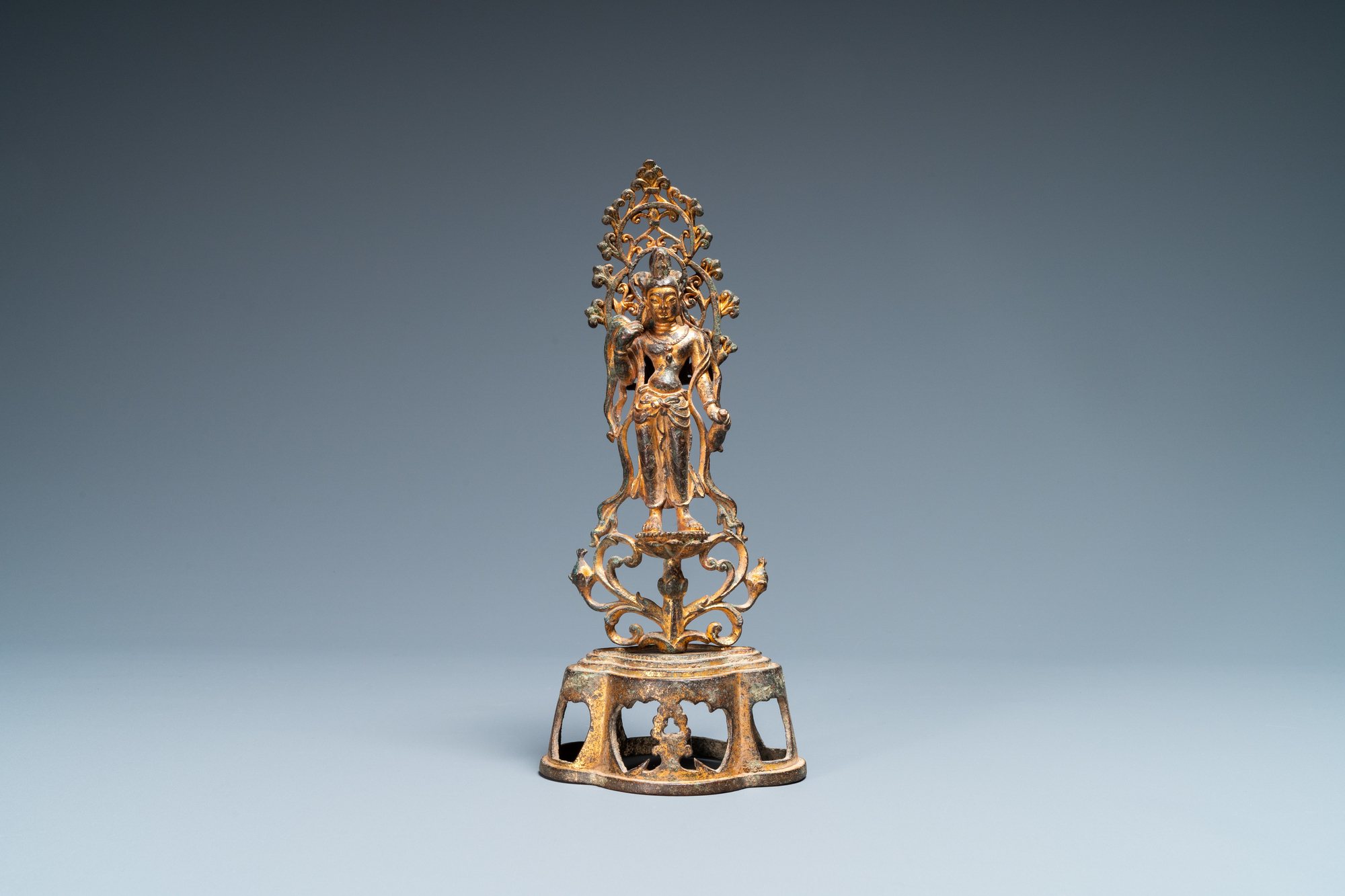 A Chinese gilt bronze figure of Buddha standing, probably Northern Wei dynasty - Image 2 of 13