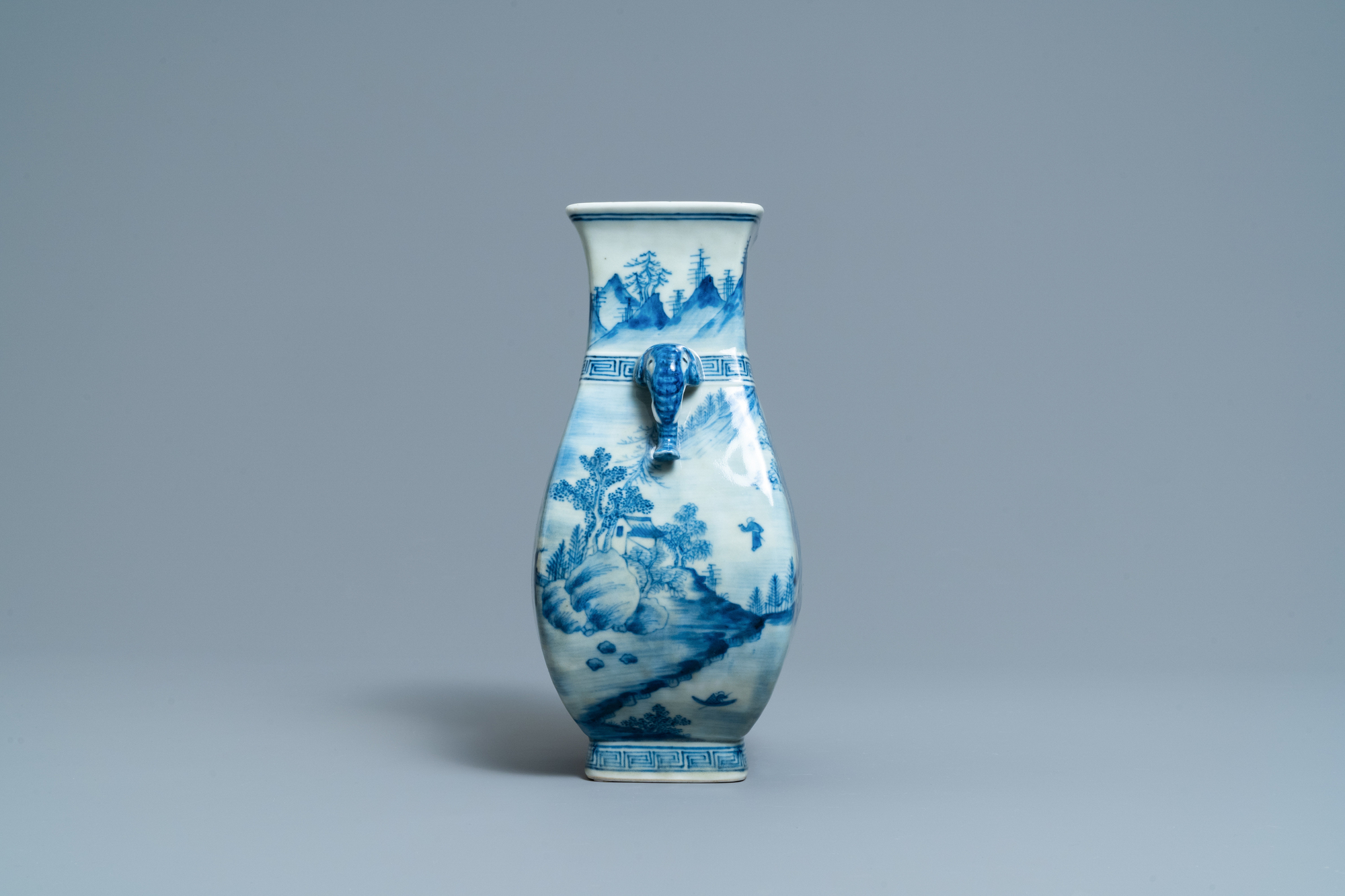 A Chinese blue and white vase with elephant handles, Qianlong - Image 4 of 6