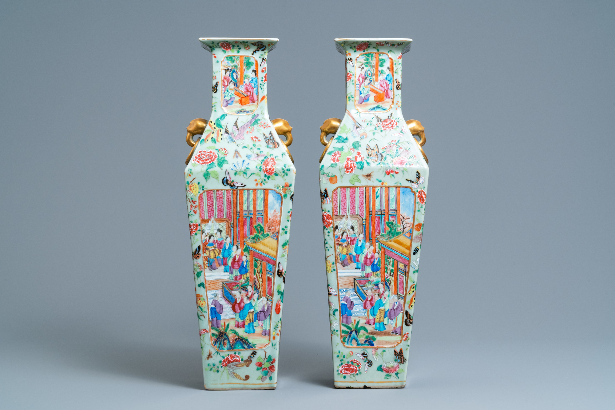 A pair of Chinese square famille rose celadon-ground vases on gilt bronze feet, 19th C. - Image 2 of 7