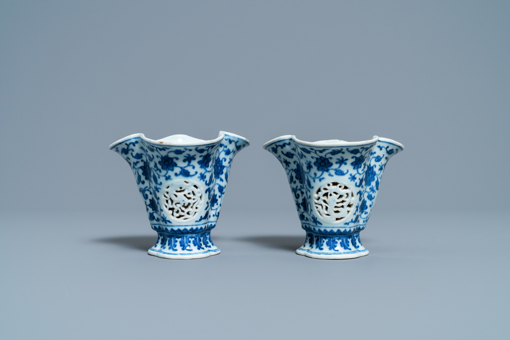 A pair of rare Chinese blue and white double-walled reticulated trilobed libation cups, Qianlong - Image 2 of 13