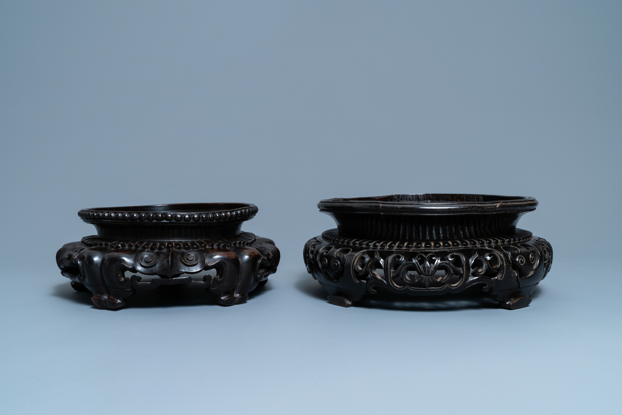 Two large Chinese reticulated wooden stands, 18/19th C. - Image 5 of 7