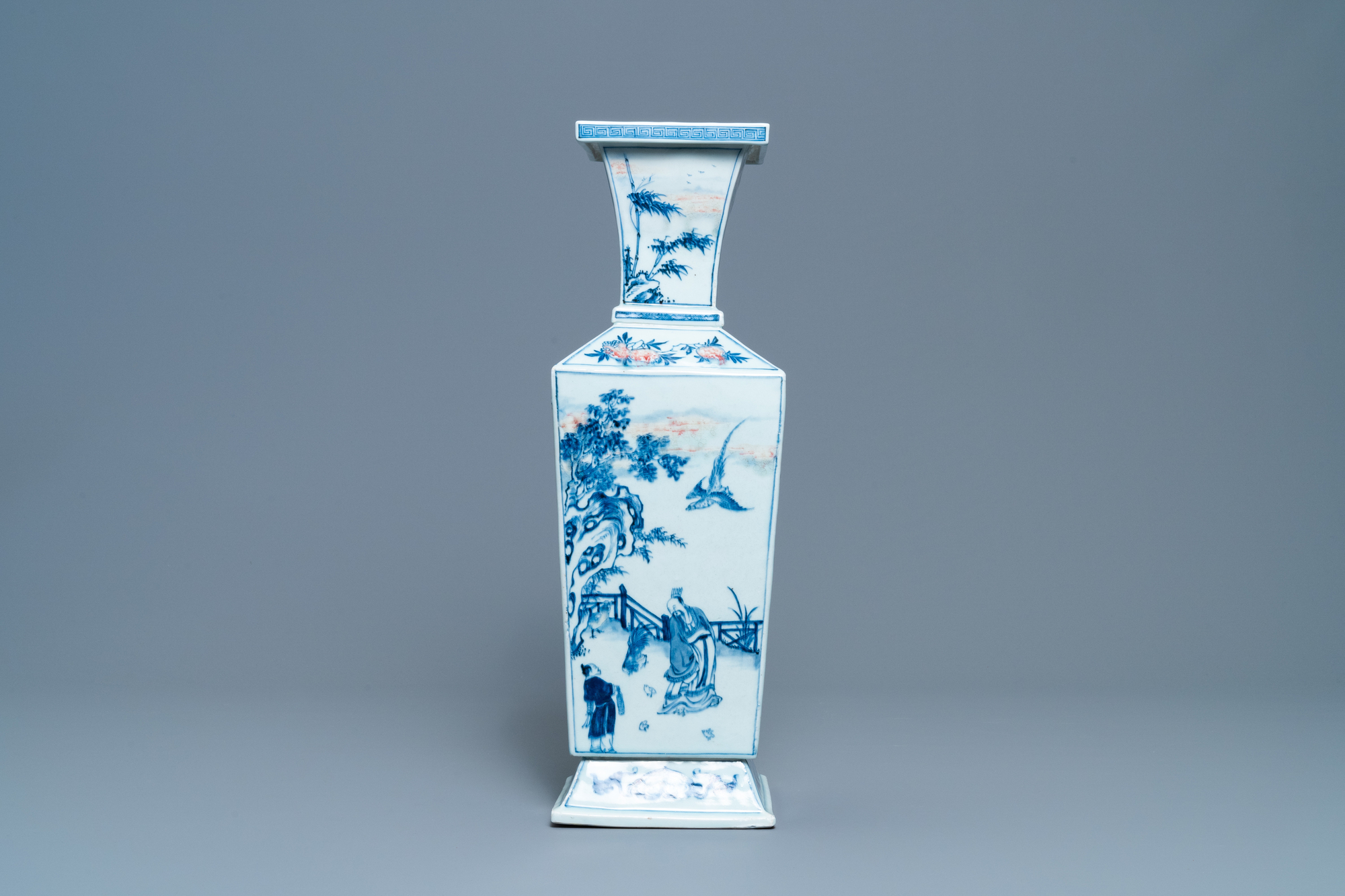 A Chinese square-sectioned blue, white and copper-red vase, Kangxi - Image 2 of 13