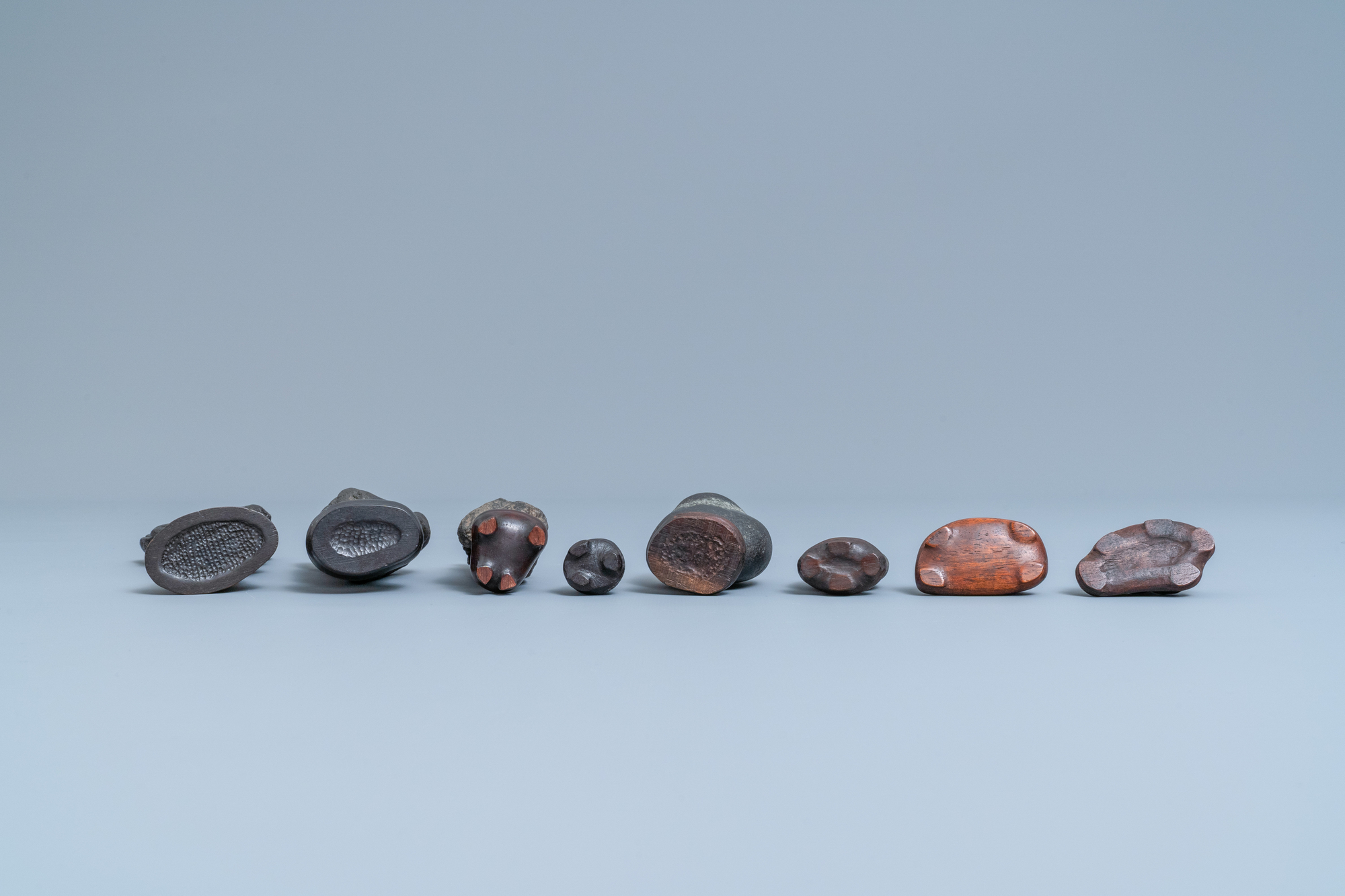 Eight Chinese scholar's rocks on wooden stands, 19/20th C. - Image 7 of 7