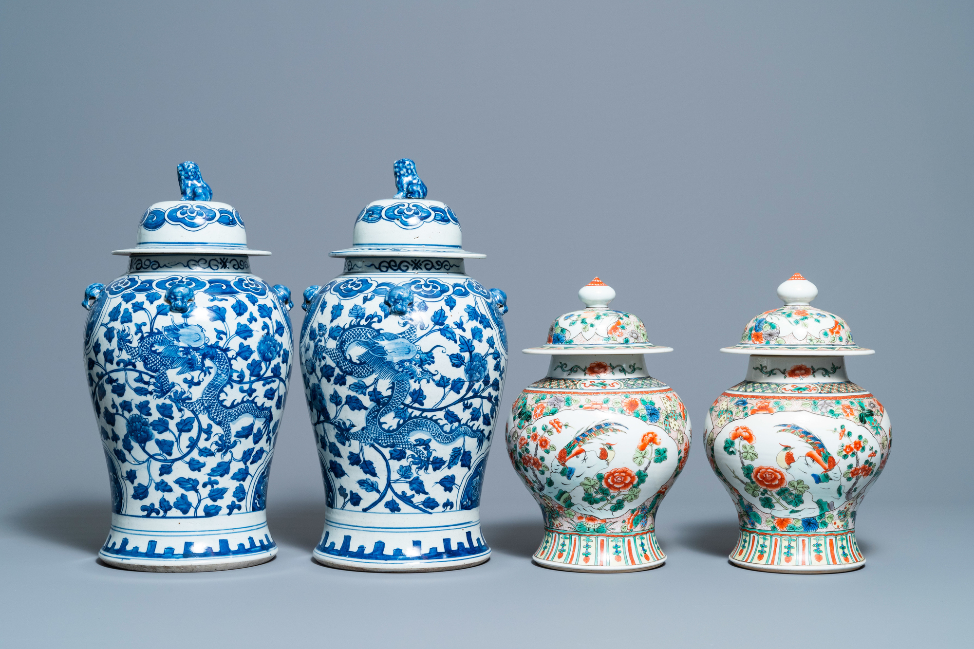 Two pairs of Chinese blue and white and famille verte vases and covers, 19/20th C. - Image 2 of 9