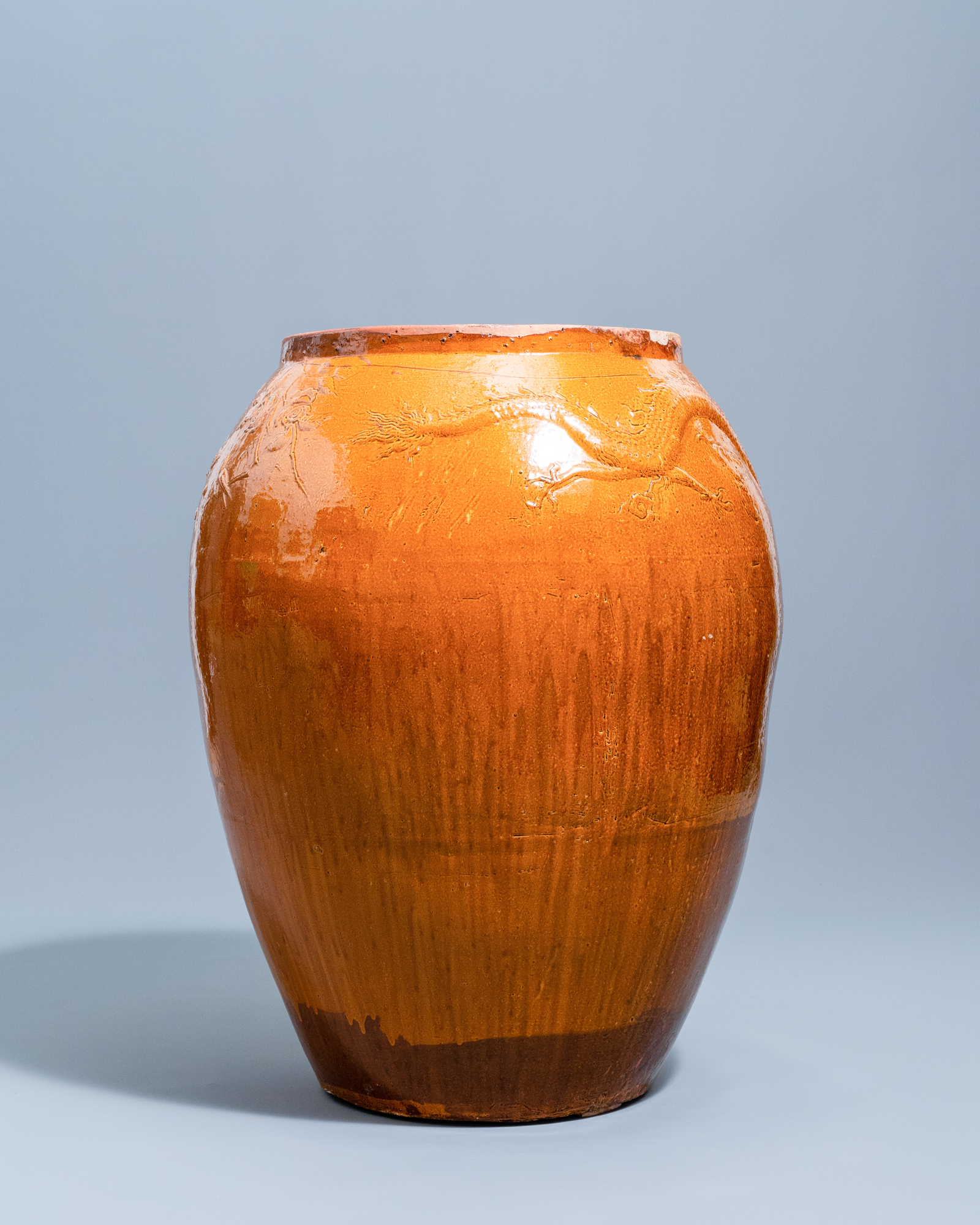 A massive Chinese brown-glazed 'dragon and phoenix' martaban jar, Qing - Image 3 of 7
