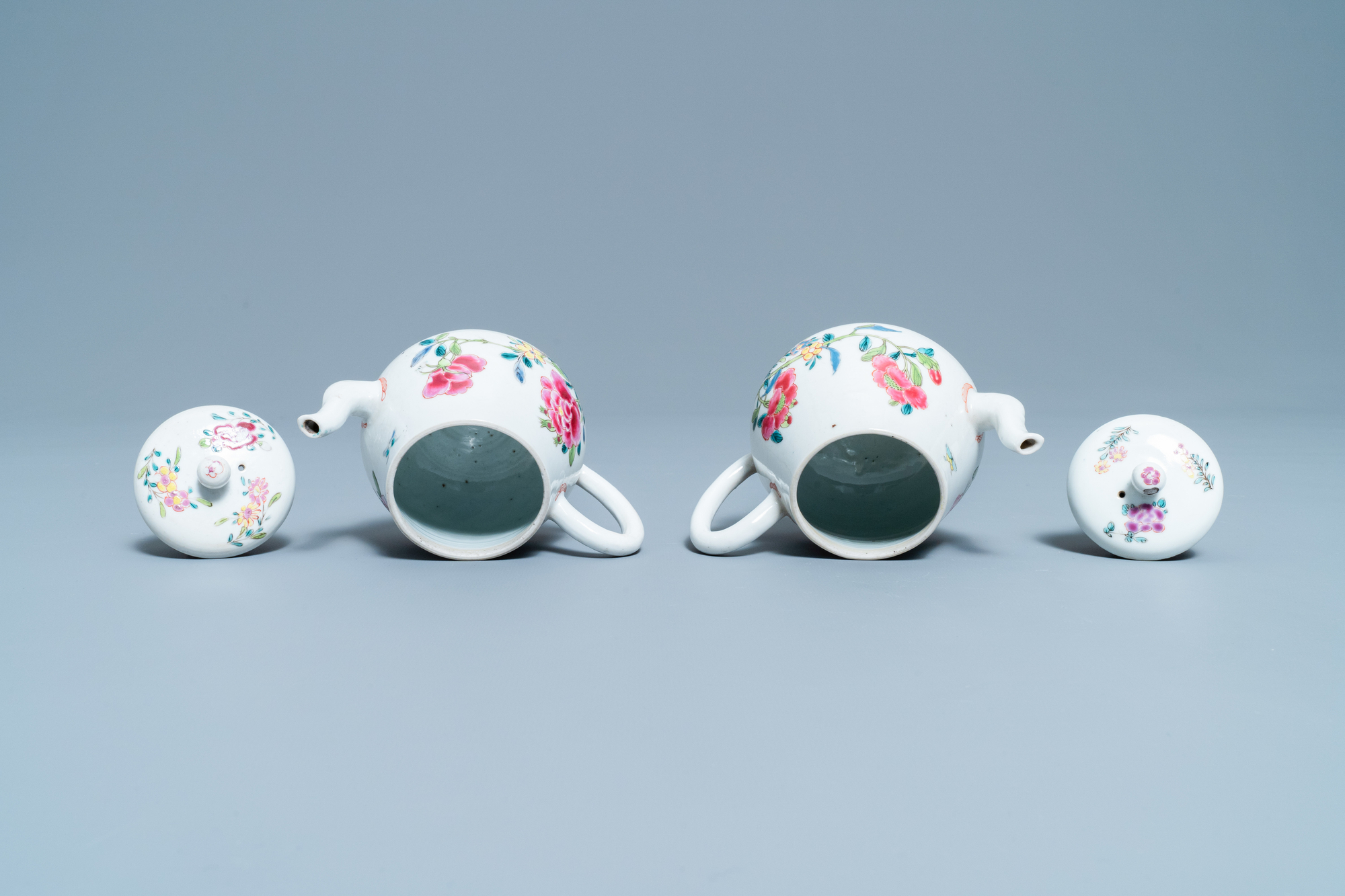 A pair of Chinese famille rose relief-decorated dishes, Yongzheng - Image 6 of 7