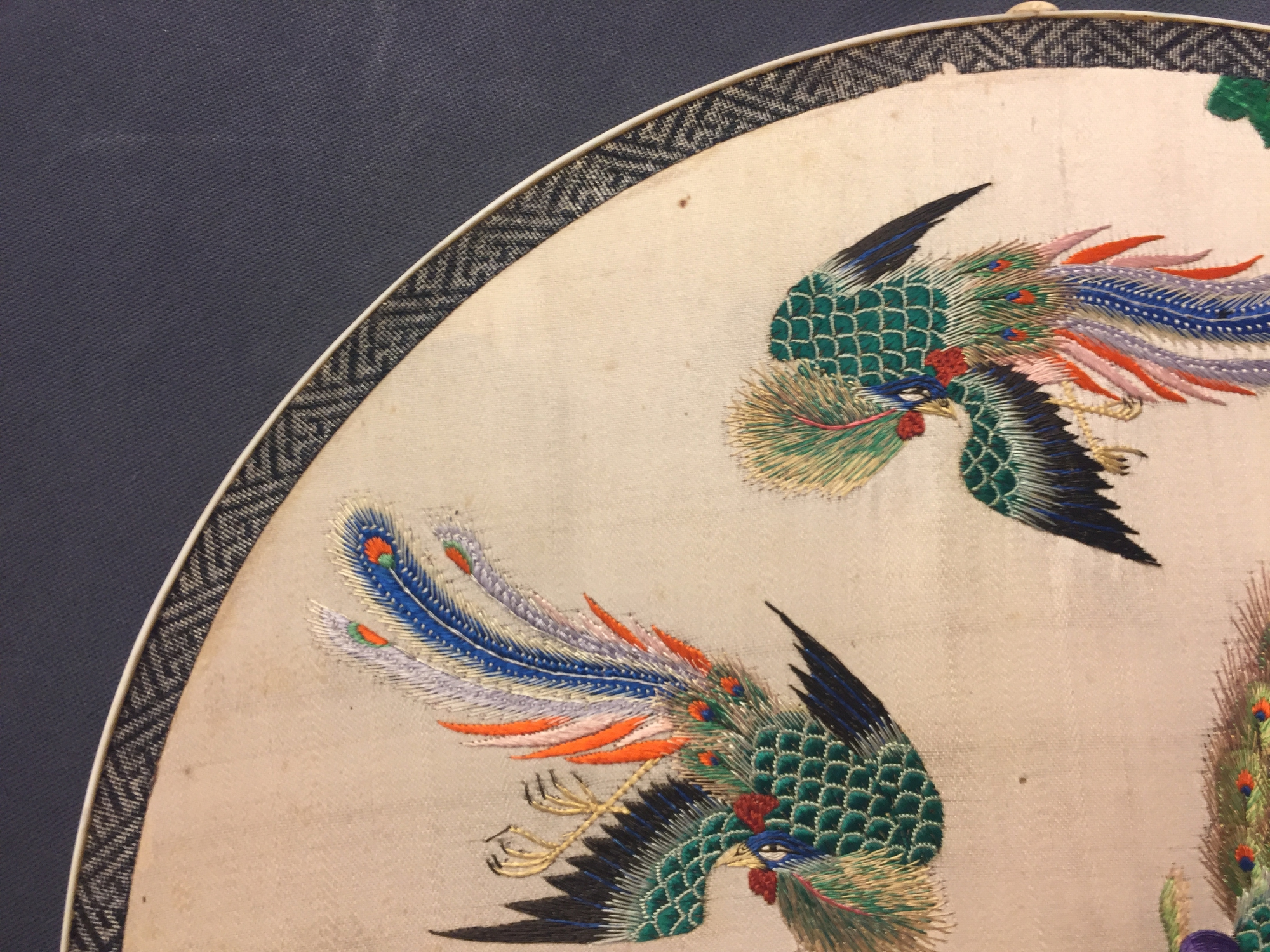 Two Chinese embroidered silk pien mien fans with ivory handle, 18/19th C. - Image 13 of 61