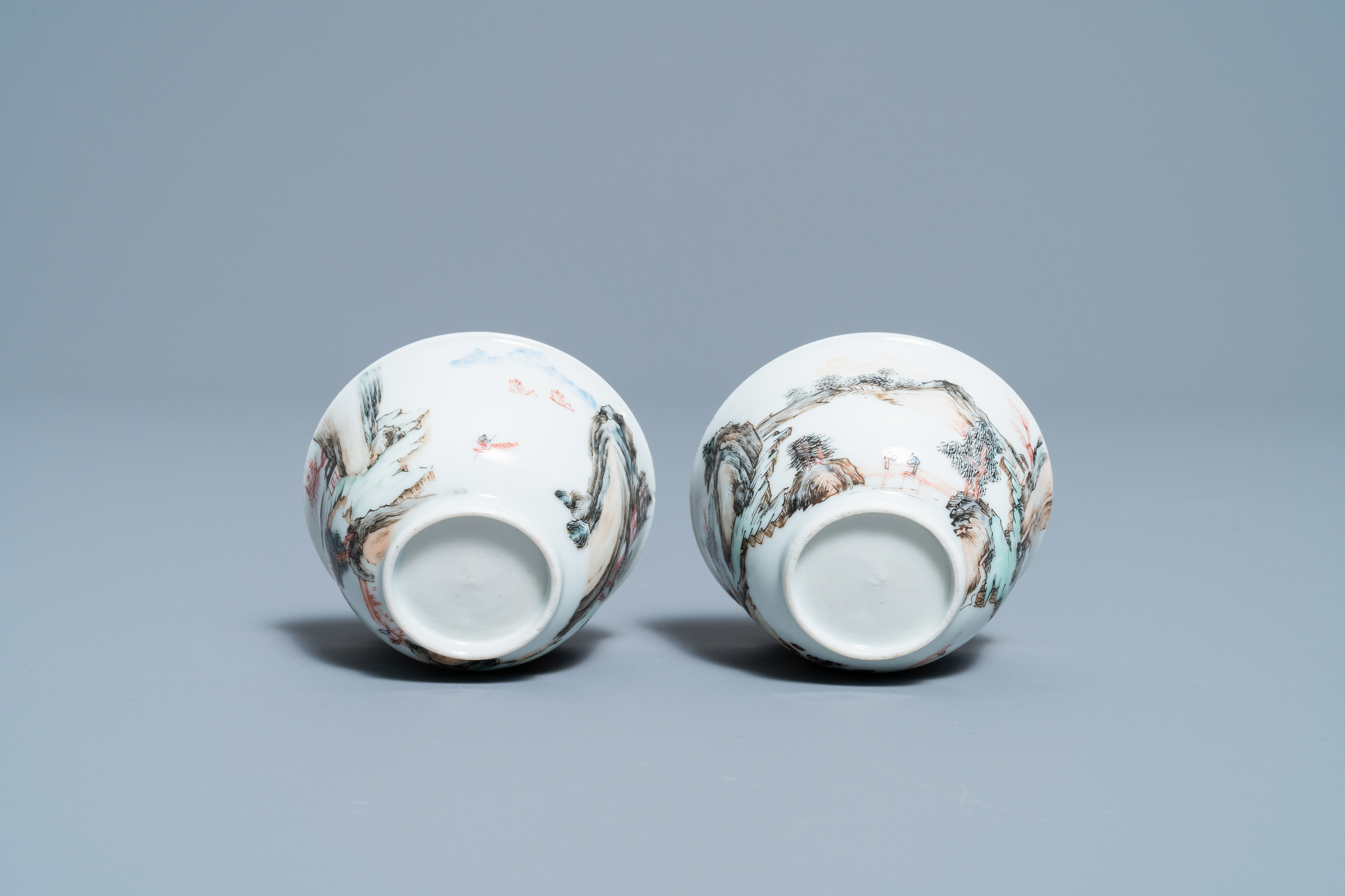 A fine Chinese 'landscape' teapot and a pair of cups and saucers, Yongzheng - Image 9 of 15