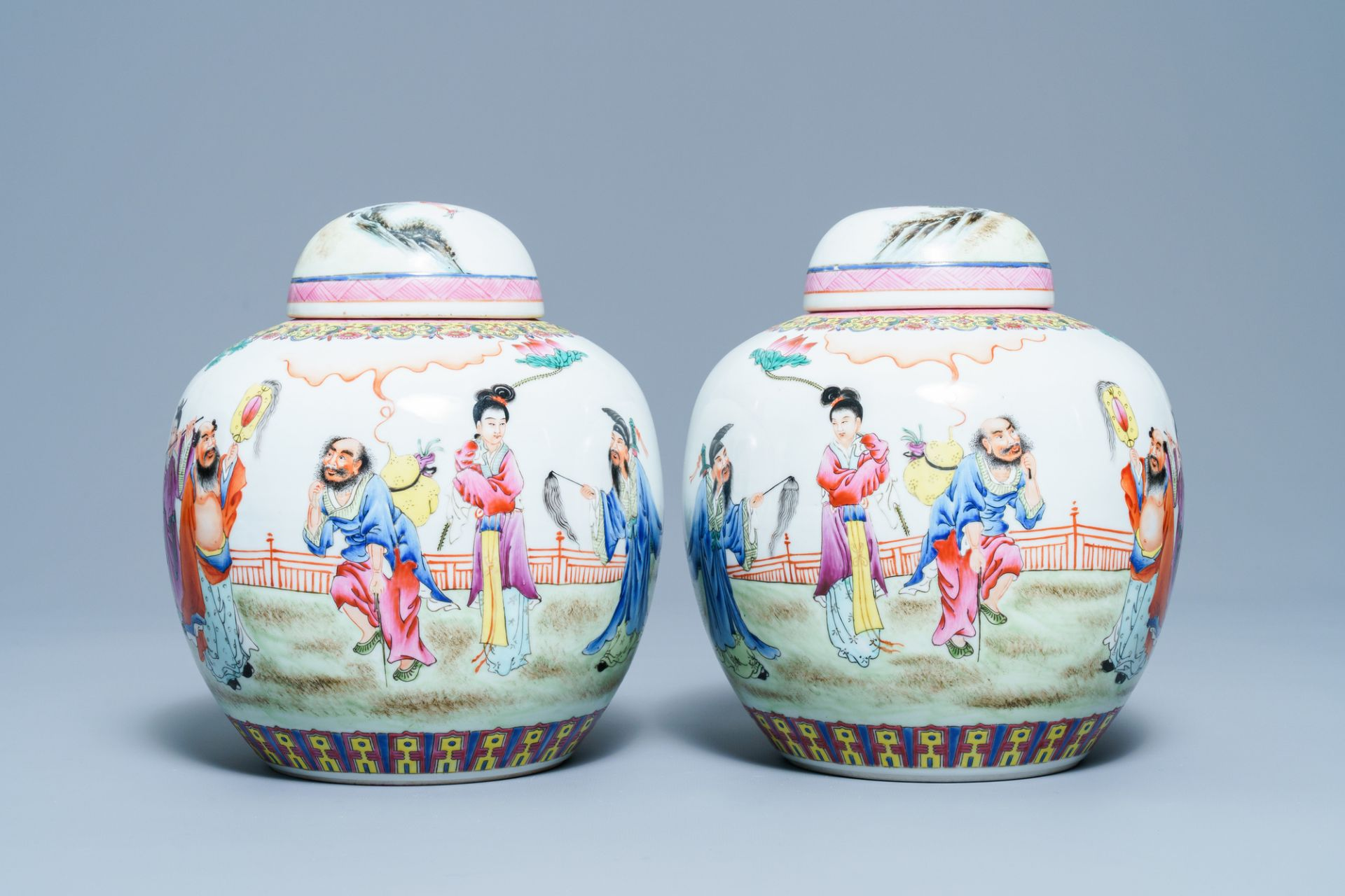 A pair of Chinese famille rose covered jars, Qianlong mark, Republic - Image 2 of 8