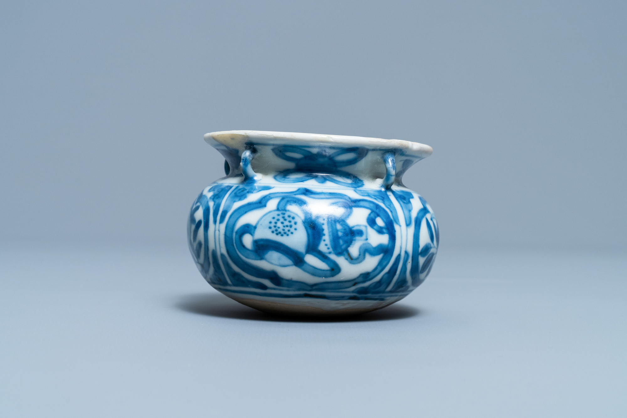 A small Chinese blue and white 'Taoist symbols' censer, Ming - Image 2 of 7
