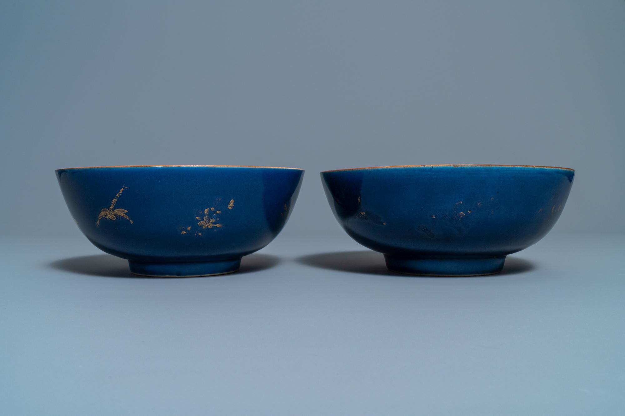 Three Chinese gilt-decorated monochrome blue bowls, Kangxi - Image 4 of 13