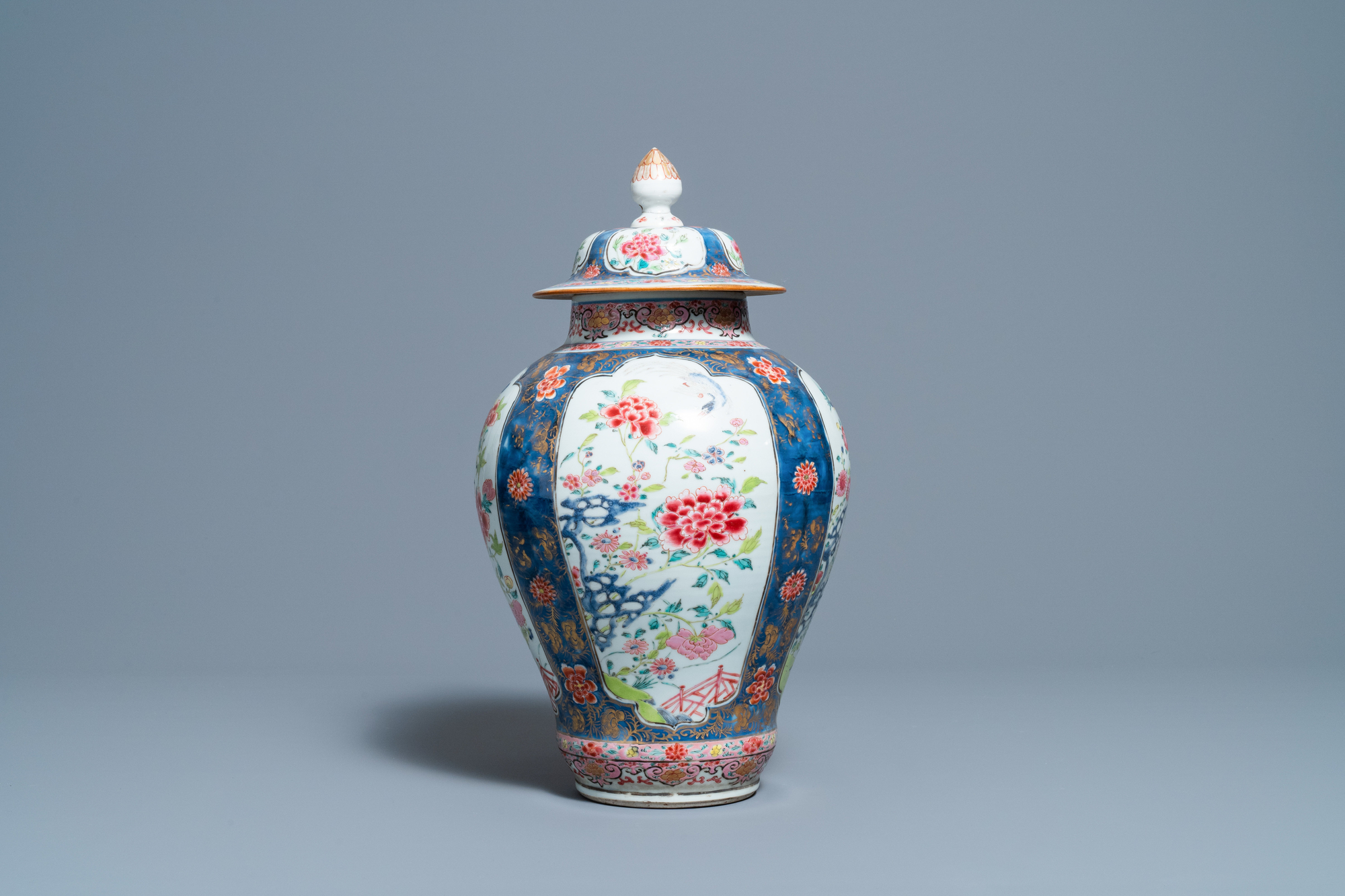 A Chinese famille rose vase and cover, Yongzheng - Image 5 of 7