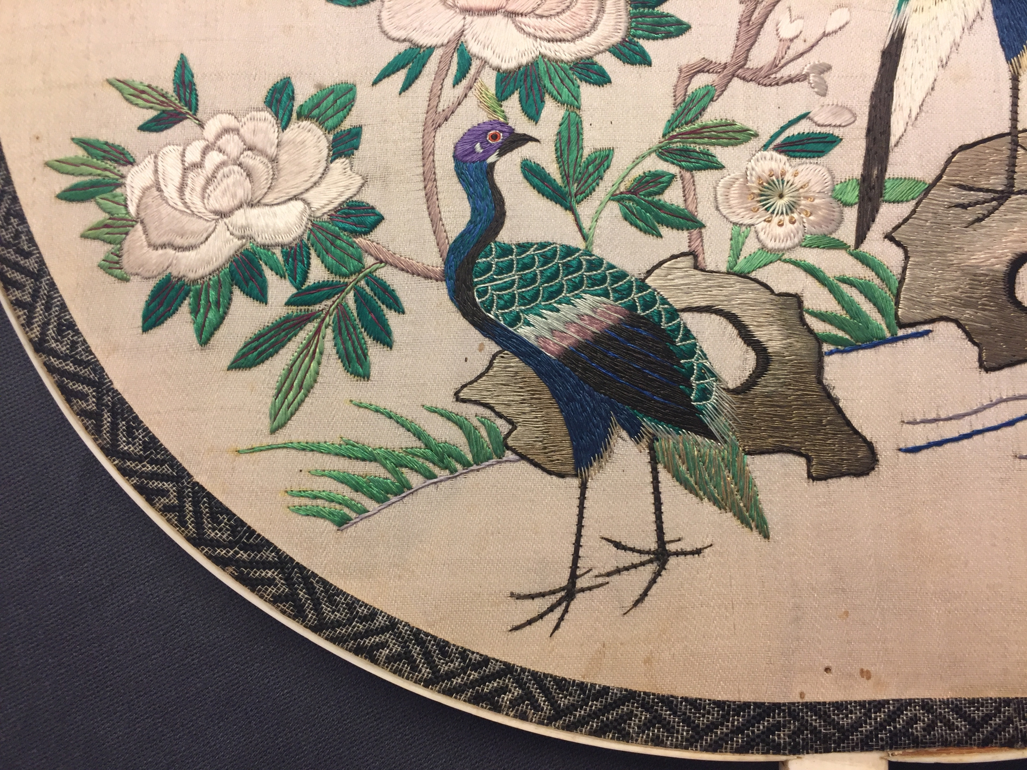 Two Chinese embroidered silk pien mien fans with ivory handle, 18/19th C. - Image 9 of 61