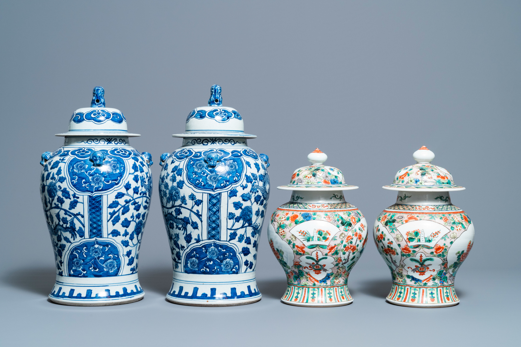 Two pairs of Chinese blue and white and famille verte vases and covers, 19/20th C. - Image 5 of 9