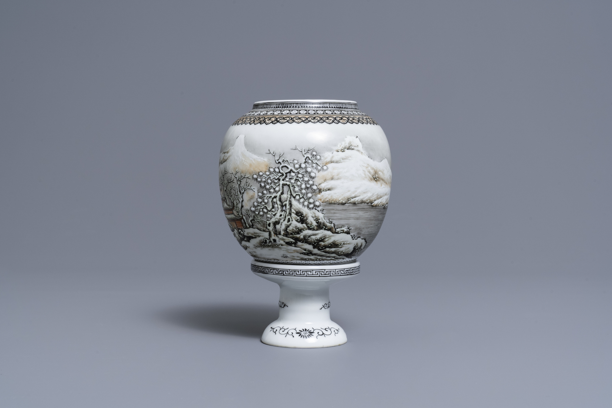 A Chinese eggshell porcelain lantern with a winter landscape, Republic - Image 4 of 8