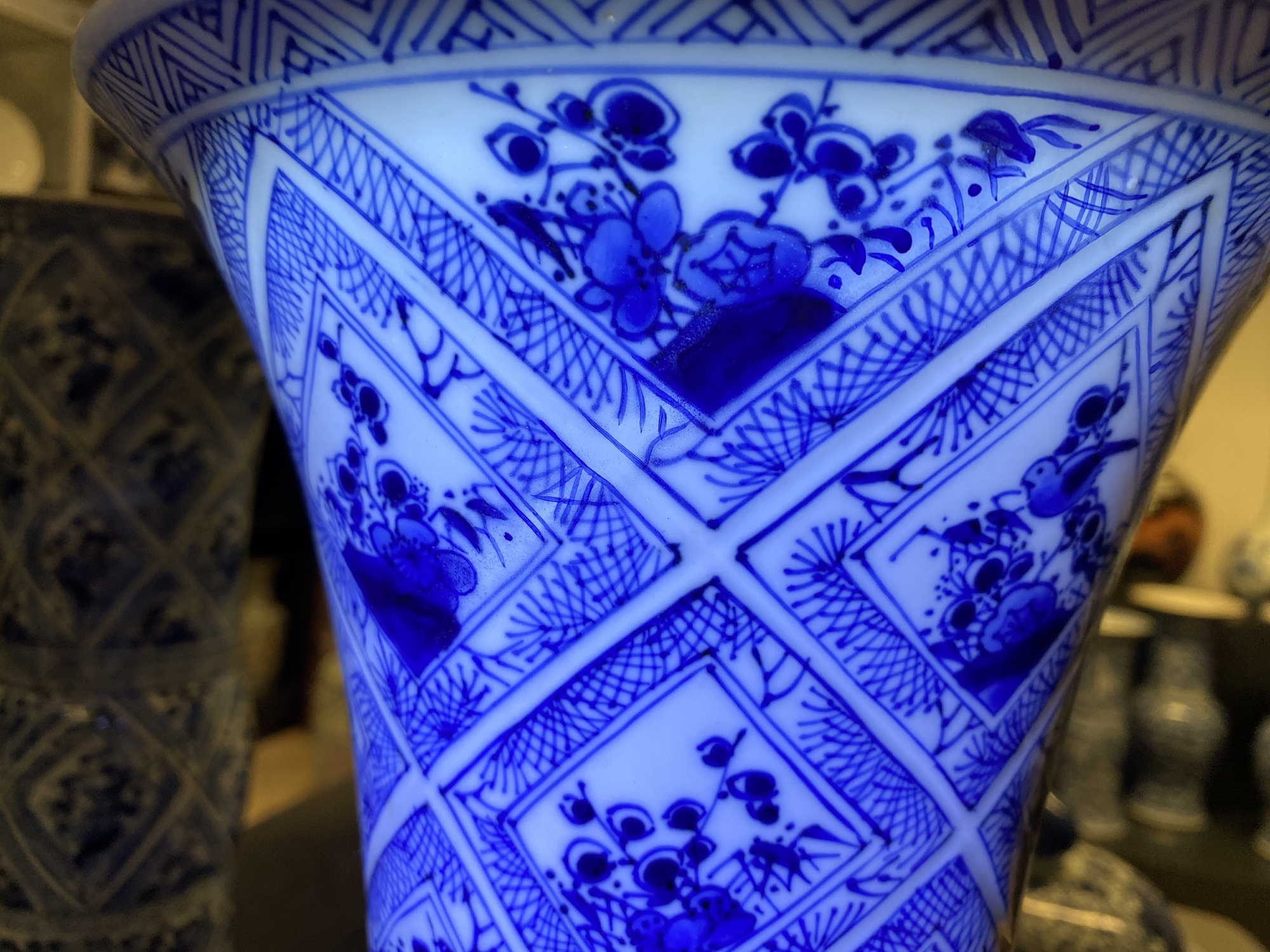 A large Chinese blue and white five-piece garniture with floral and landscape panels, Kangxi - Image 55 of 66