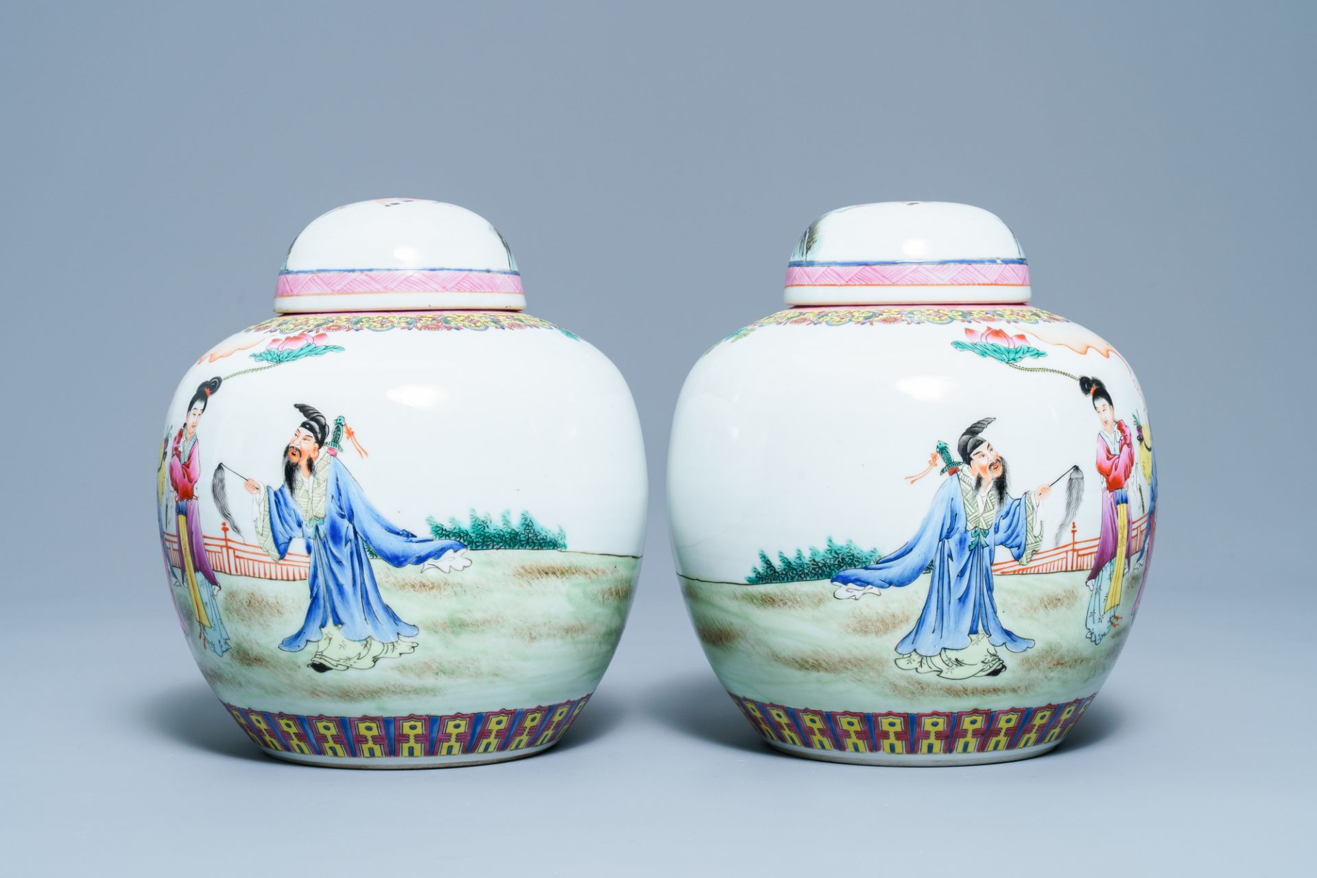 A pair of Chinese famille rose covered jars, Qianlong mark, Republic - Image 3 of 8