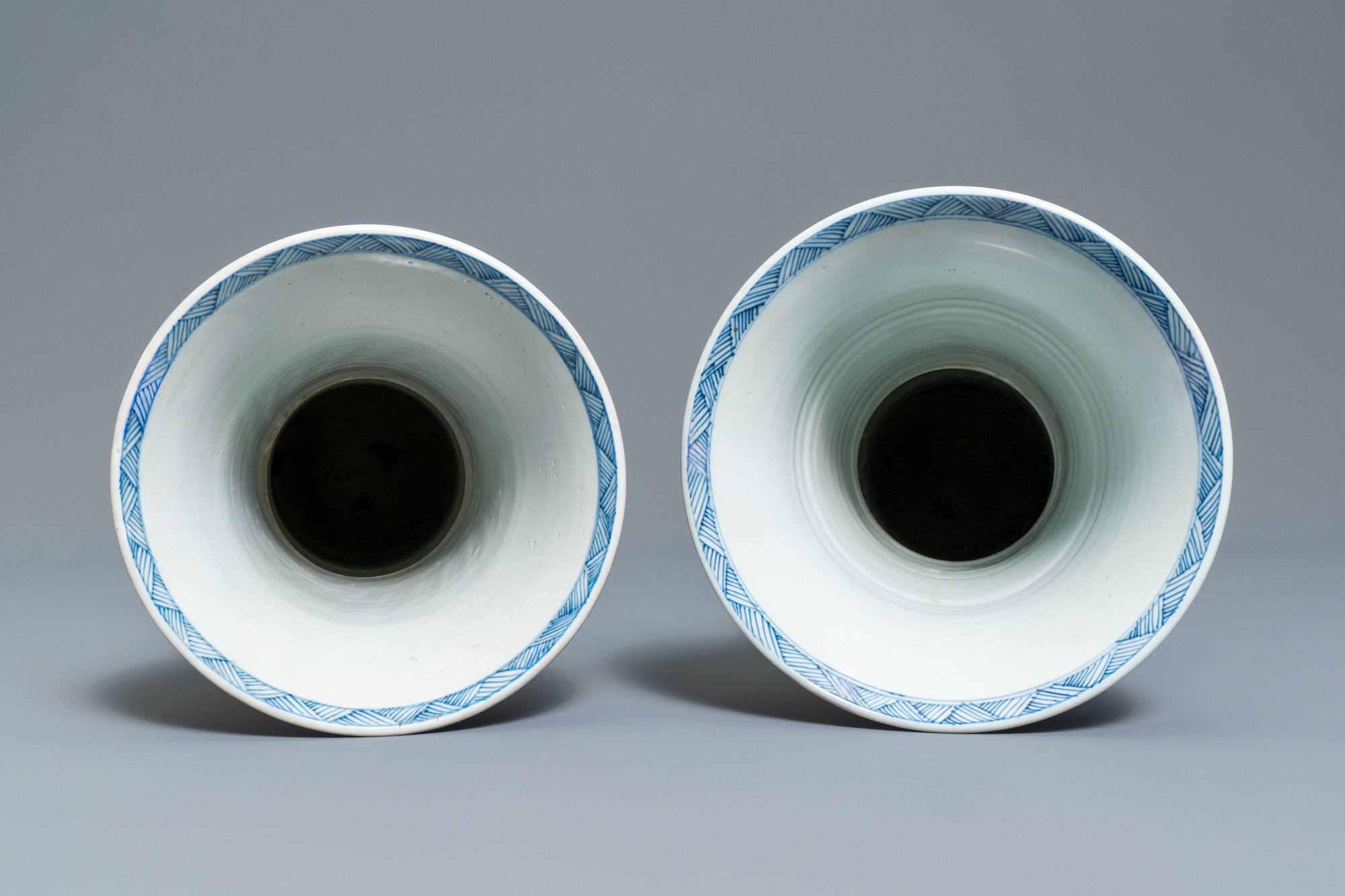 A large Chinese blue and white five-piece garniture with floral and landscape panels, Kangxi - Image 14 of 66
