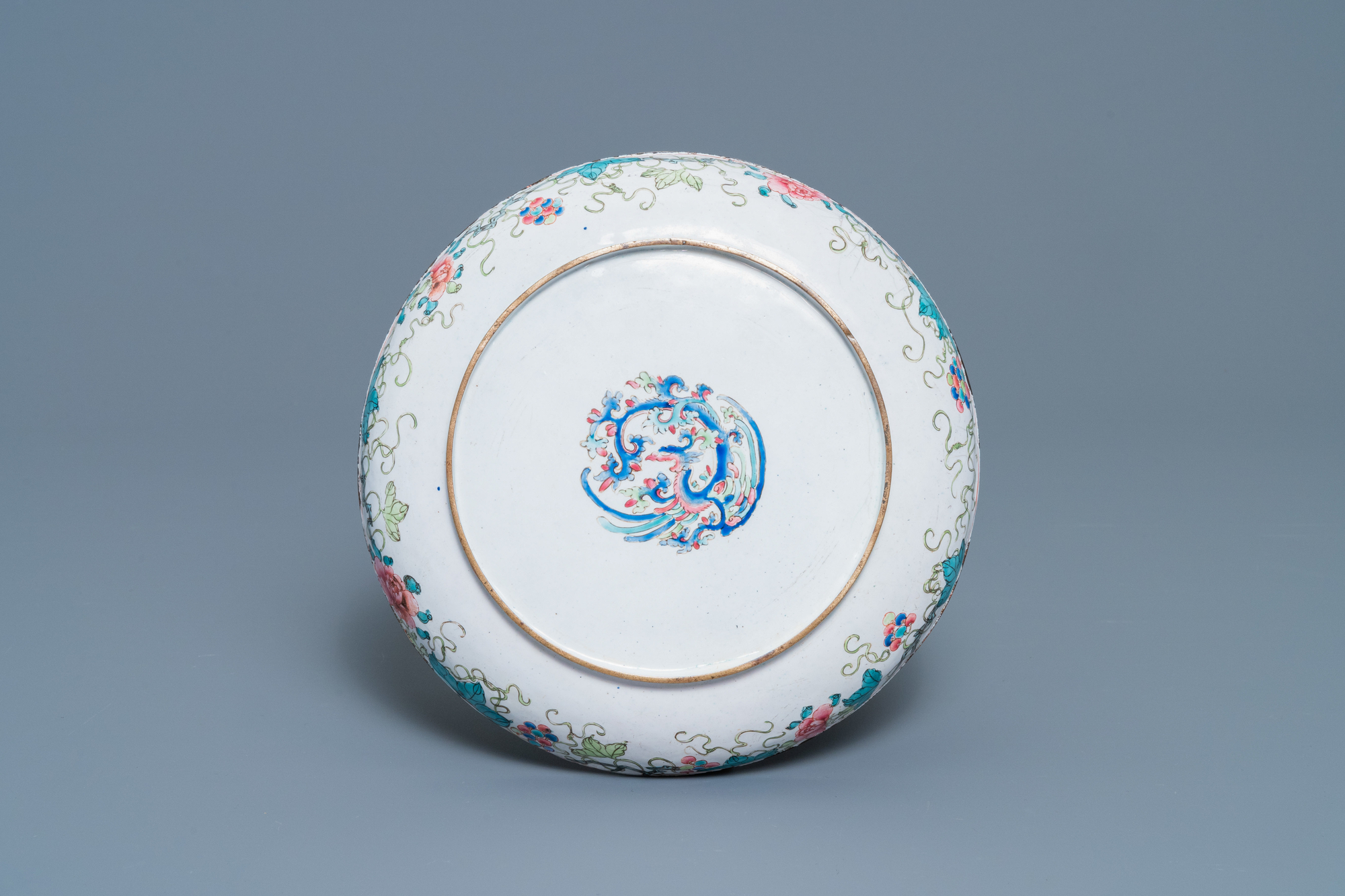 A Chinese Canton enamel 'scholars' plate, Qianlong - Image 2 of 2