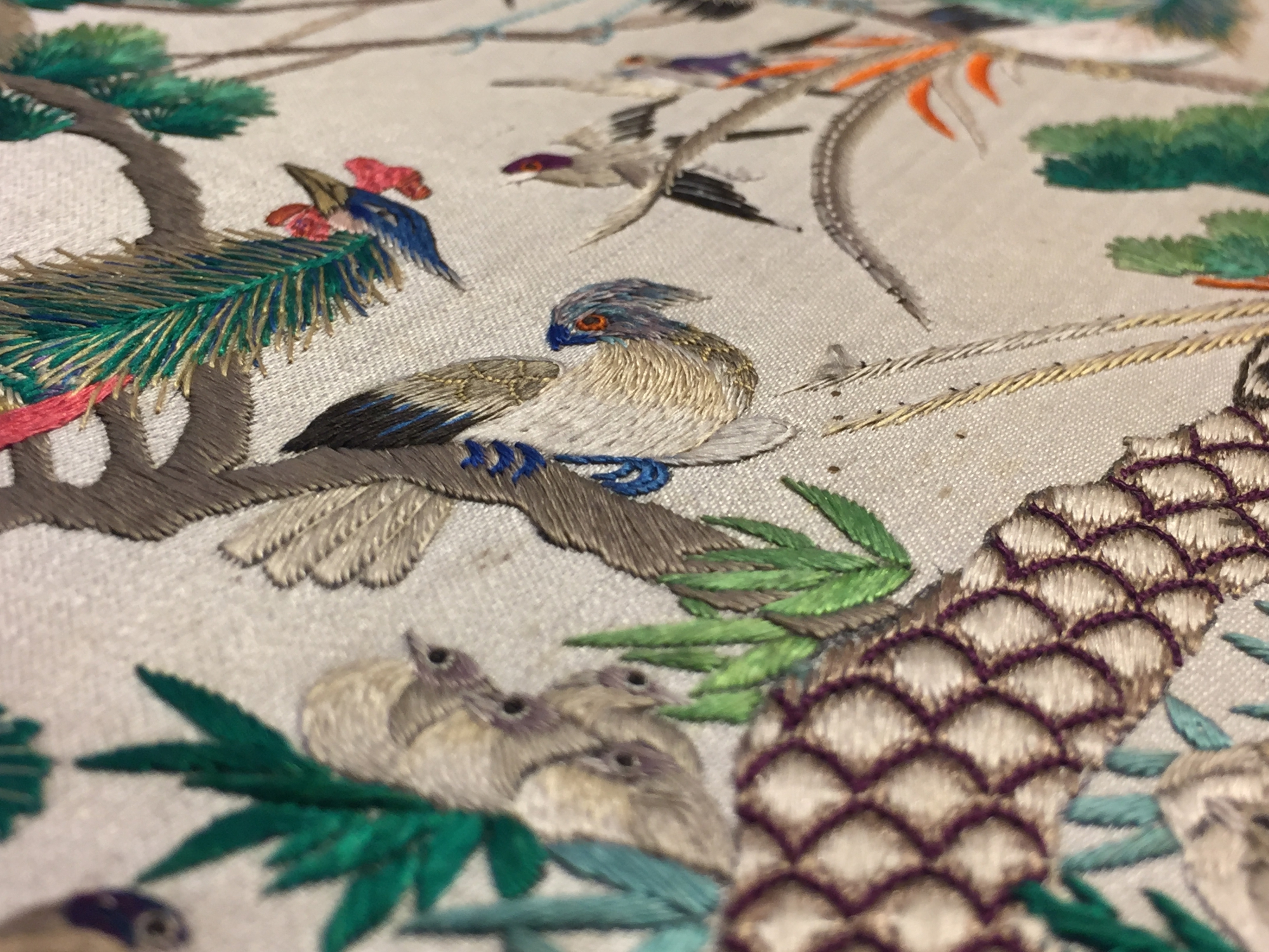 Two Chinese embroidered silk pien mien fans with ivory handle, 18/19th C. - Image 40 of 61