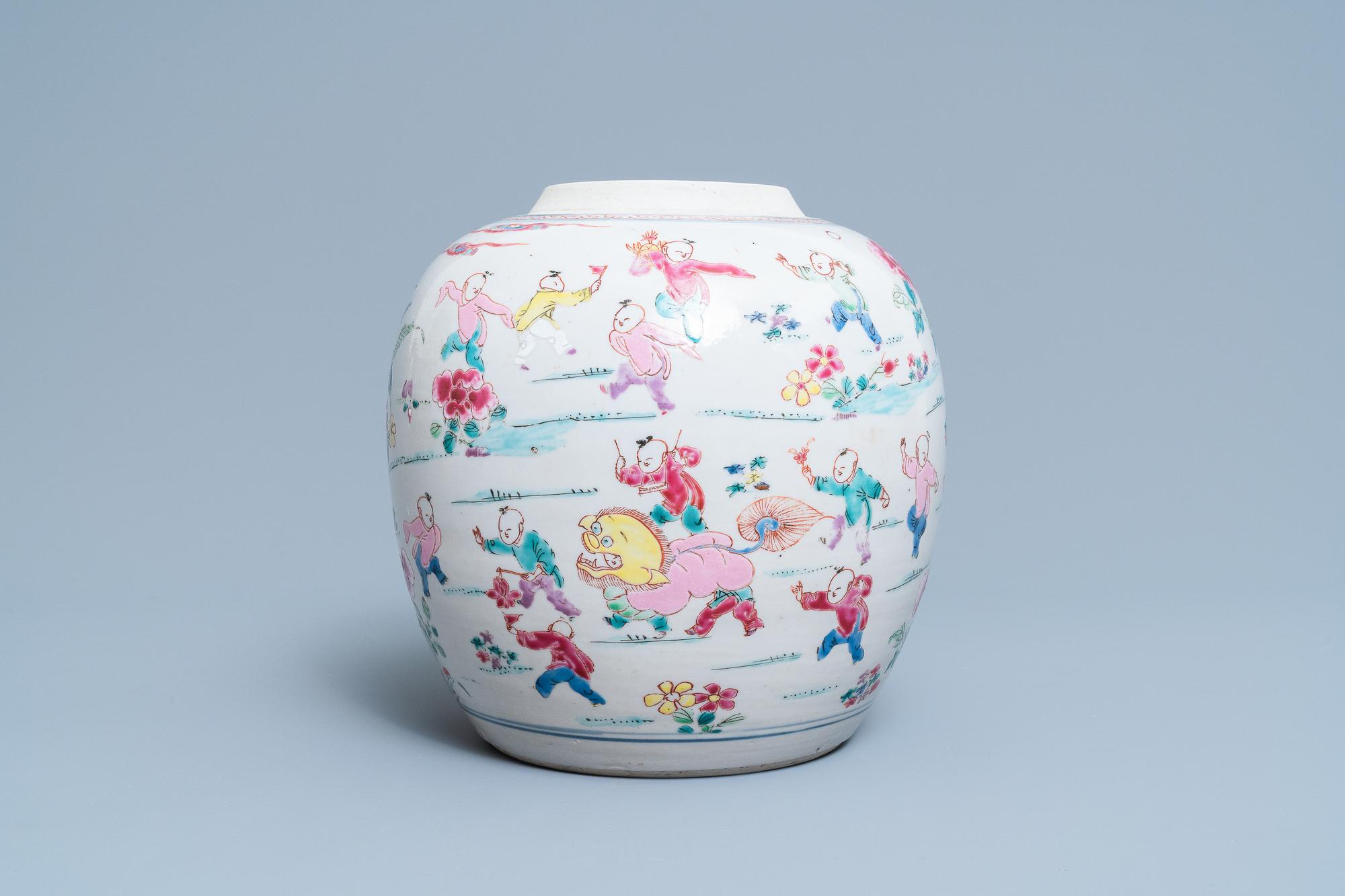A Chinese famille rose 'hundred boys' jar, Yongzheng