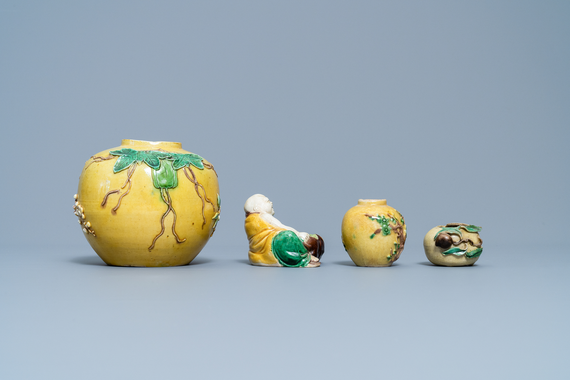 Two Chinese biscuit jars, a Buddha figure and a brushwasher, 19/20th C. - Image 3 of 7