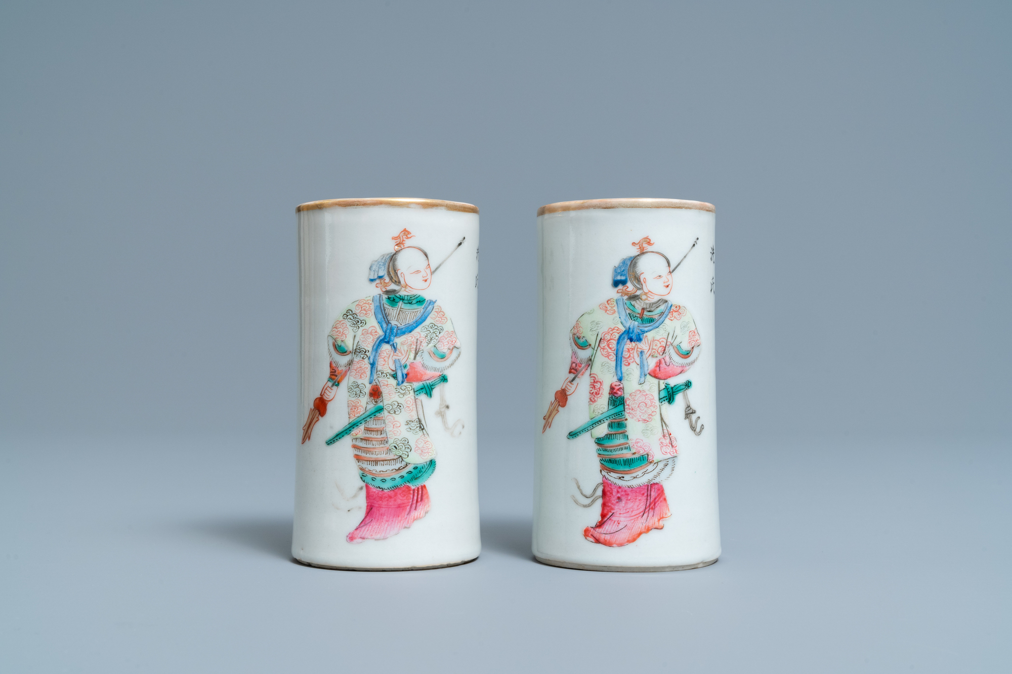 A pair of Chinese famille rose 'Wu Shuang Pu' brush pots, Daoguang mark and of the period - Image 2 of 7