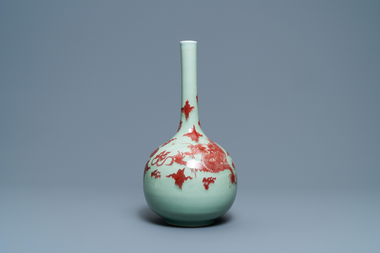 A Chinese copper-red celadon-ground 'dragon' vase, Kangxi - Image 2 of 13