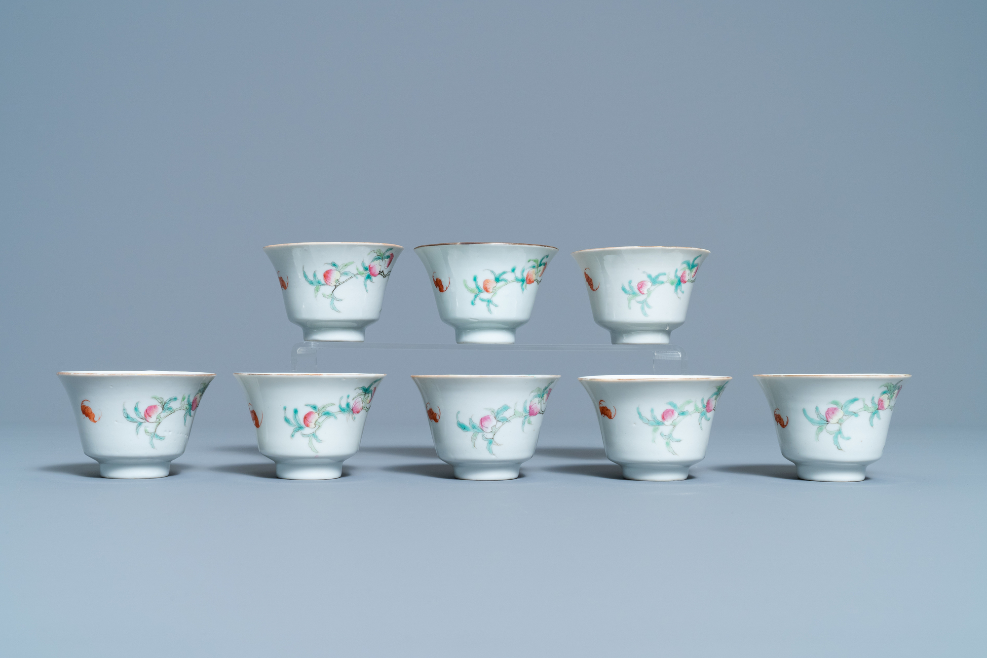 Eight Chinese famille rose 'nine peach' bowls, Hui Tong Zhen Pin mark, 19/20th C. - Image 5 of 7