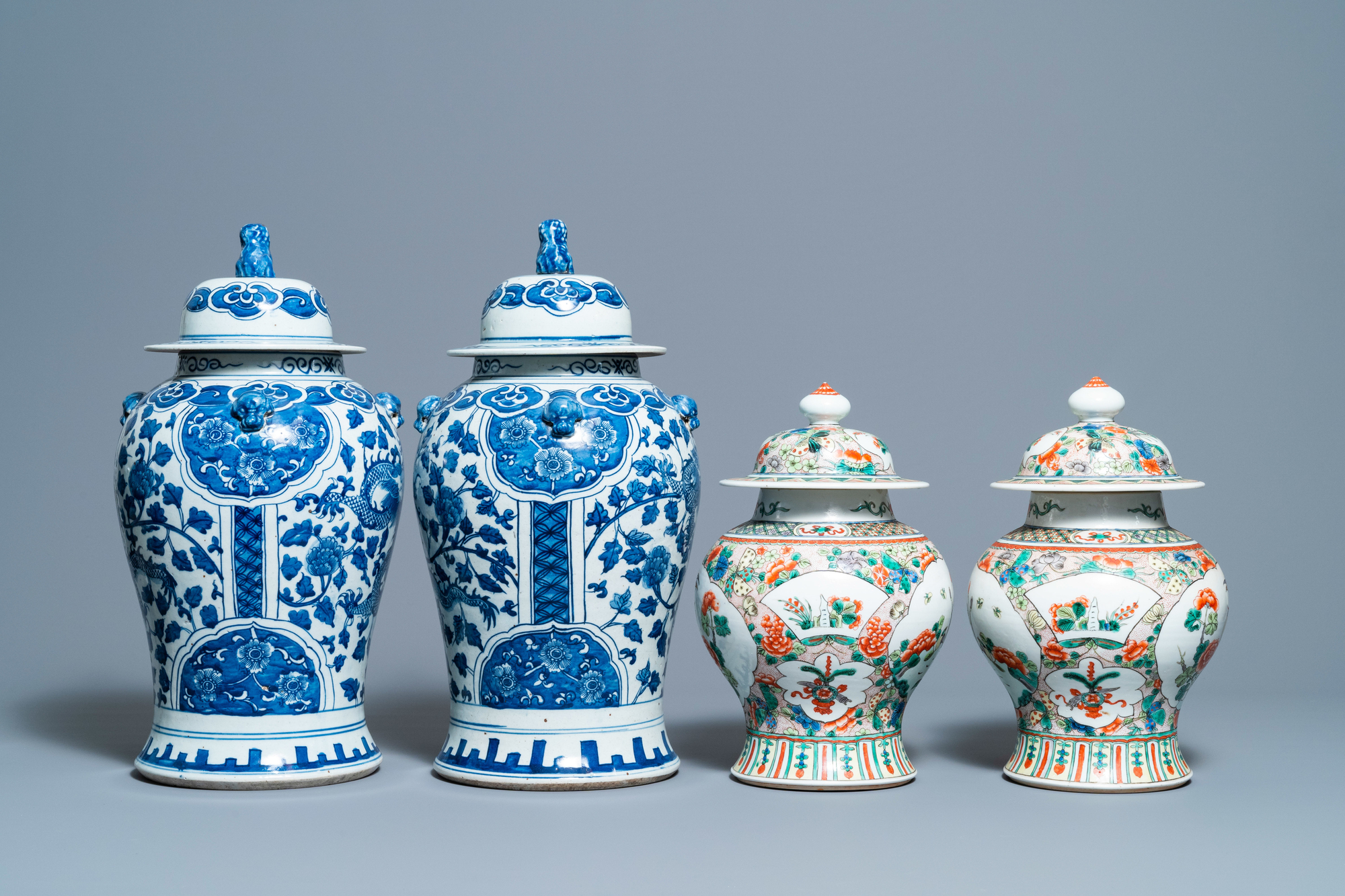 Two pairs of Chinese blue and white and famille verte vases and covers, 19/20th C. - Image 3 of 9