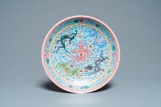 A Chinese famille rose 'dragon' dish, Qianlong mark, Republic