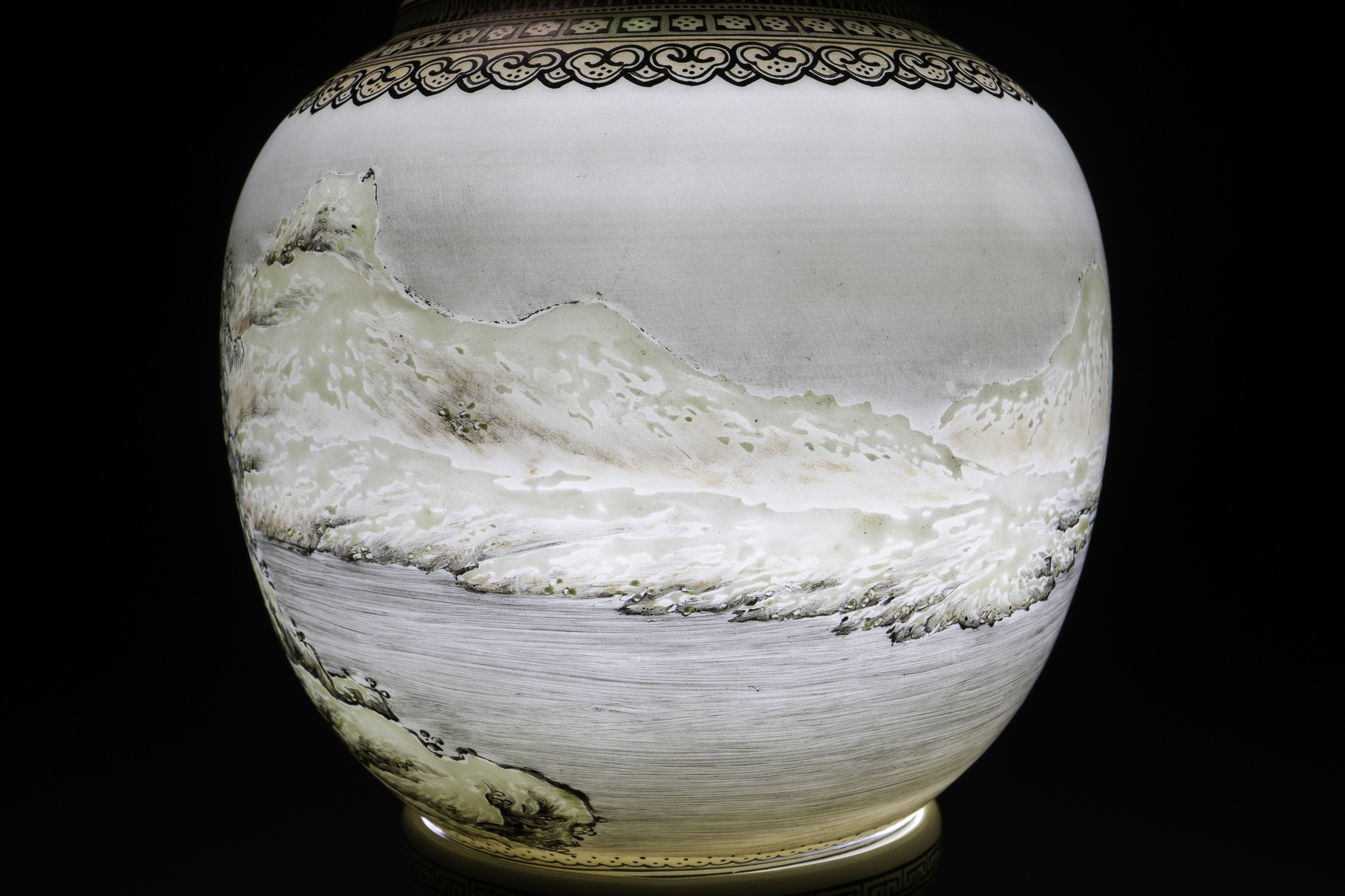 A Chinese eggshell porcelain lantern with a winter landscape, Republic - Image 6 of 8
